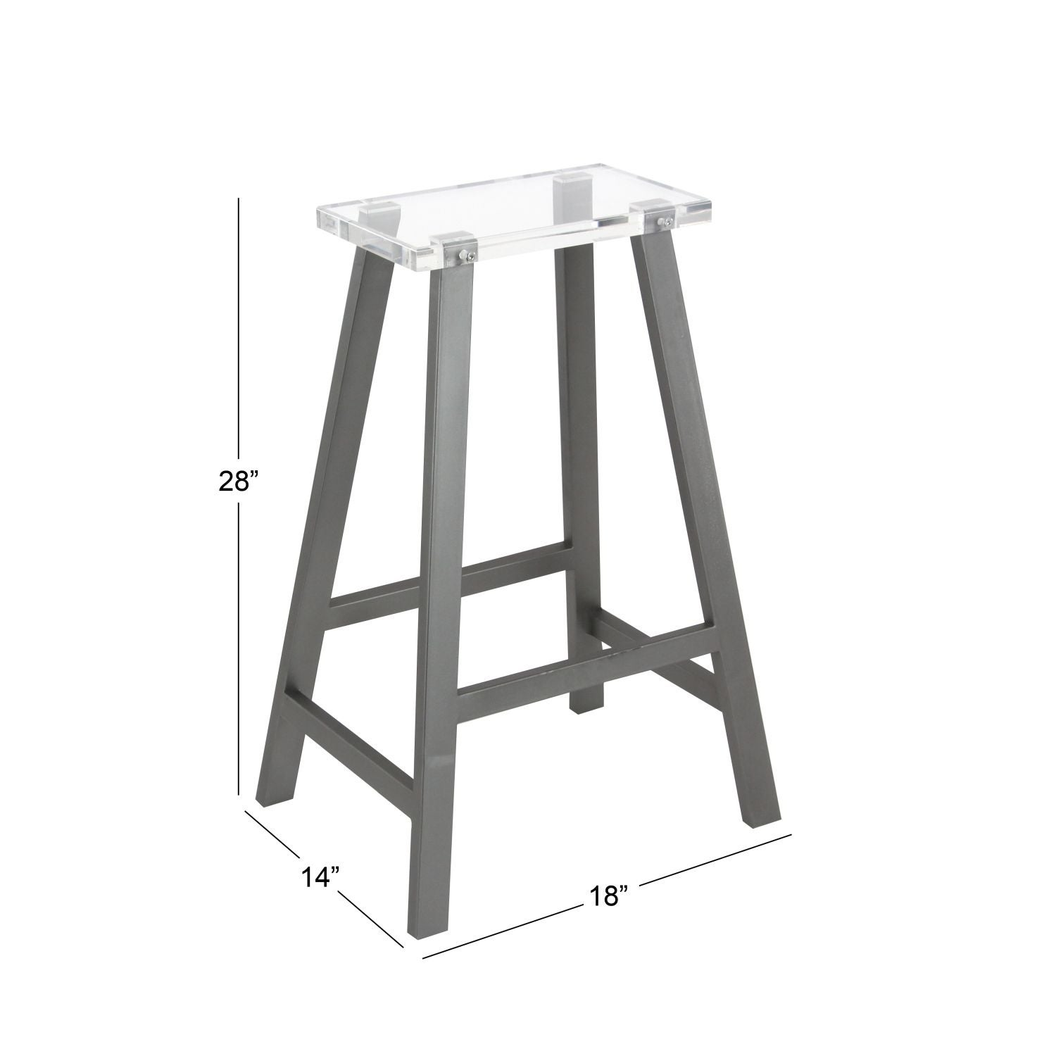 Studio 350 Metal Acrylic Bar Stool 18 Inches Wide, 28