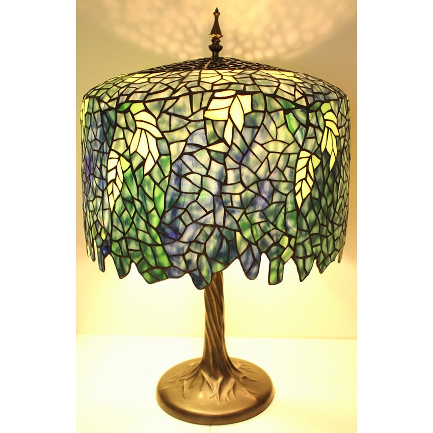3d32a33fd41 Shop Blue Wisteria Tiffany Style Lamp w  Tree Trunk Base - Free Shipping  Today - Overstock - 1721370