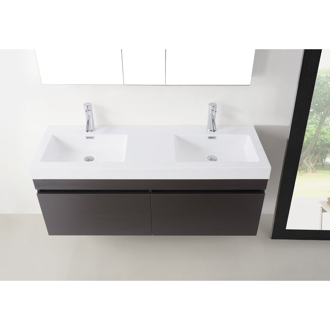 Shop Zuri 55 Inch Ultra Modern Double Vanity Set Faucet Options No Mirror    Free Shipping Today   Overstock.com   17215280