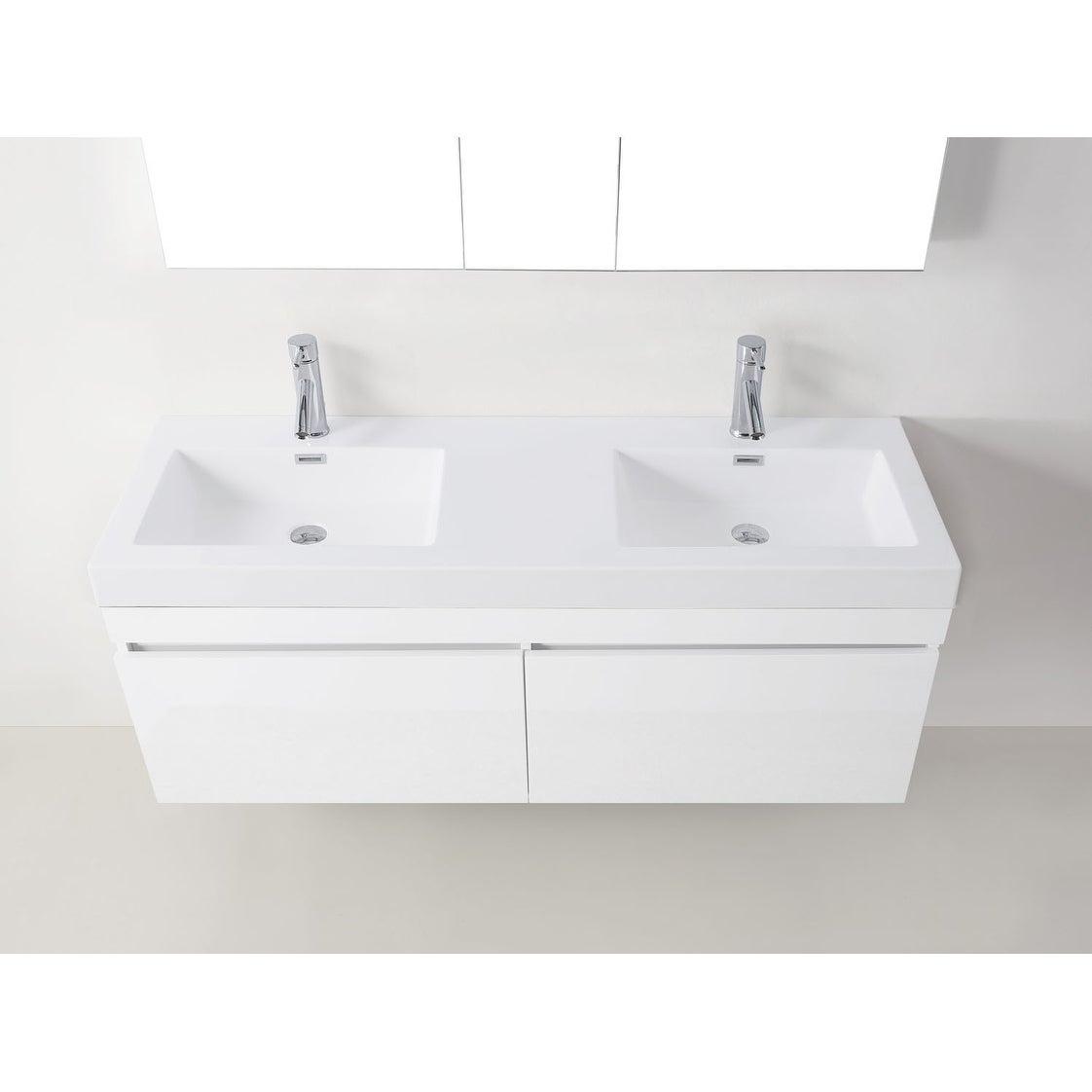 Shop Zuri 55-inch Ultra Modern Double Vanity Set Faucet Options No ...