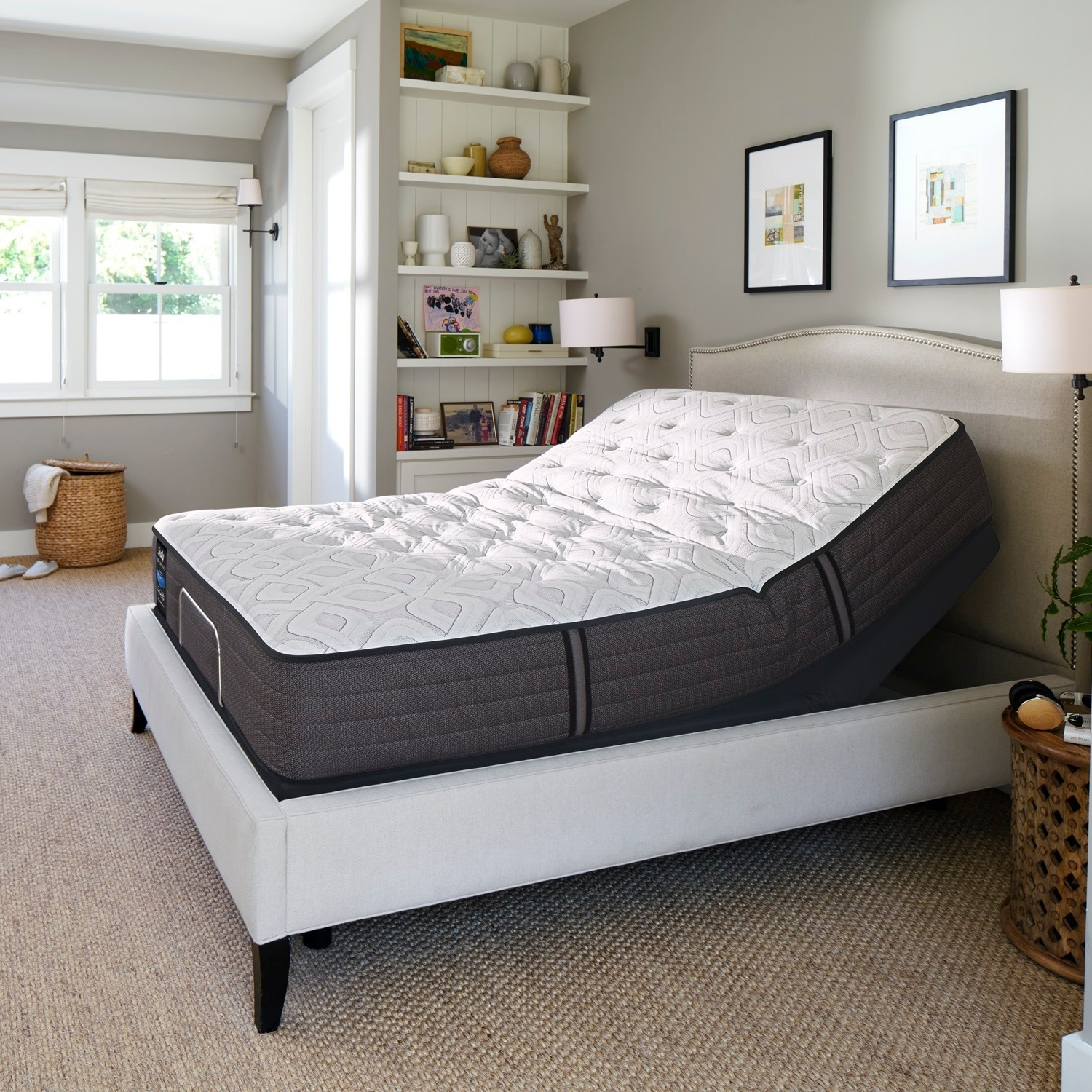 sealy response performance 12 5 inch cushion firm full size ease adjustable mattress set