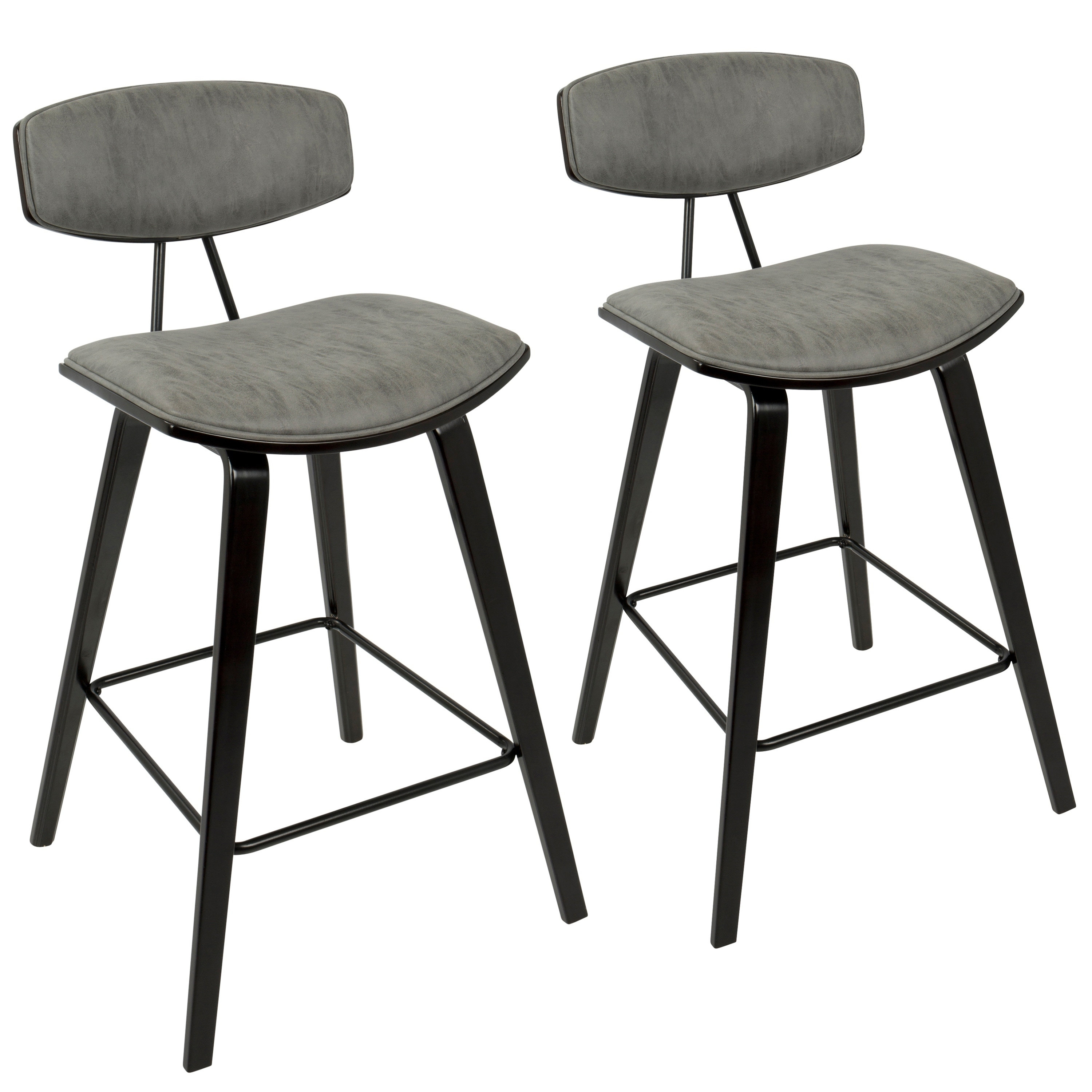Shop Damato 26 Counter Stool With Faux Suede Upholstery Set Of 2