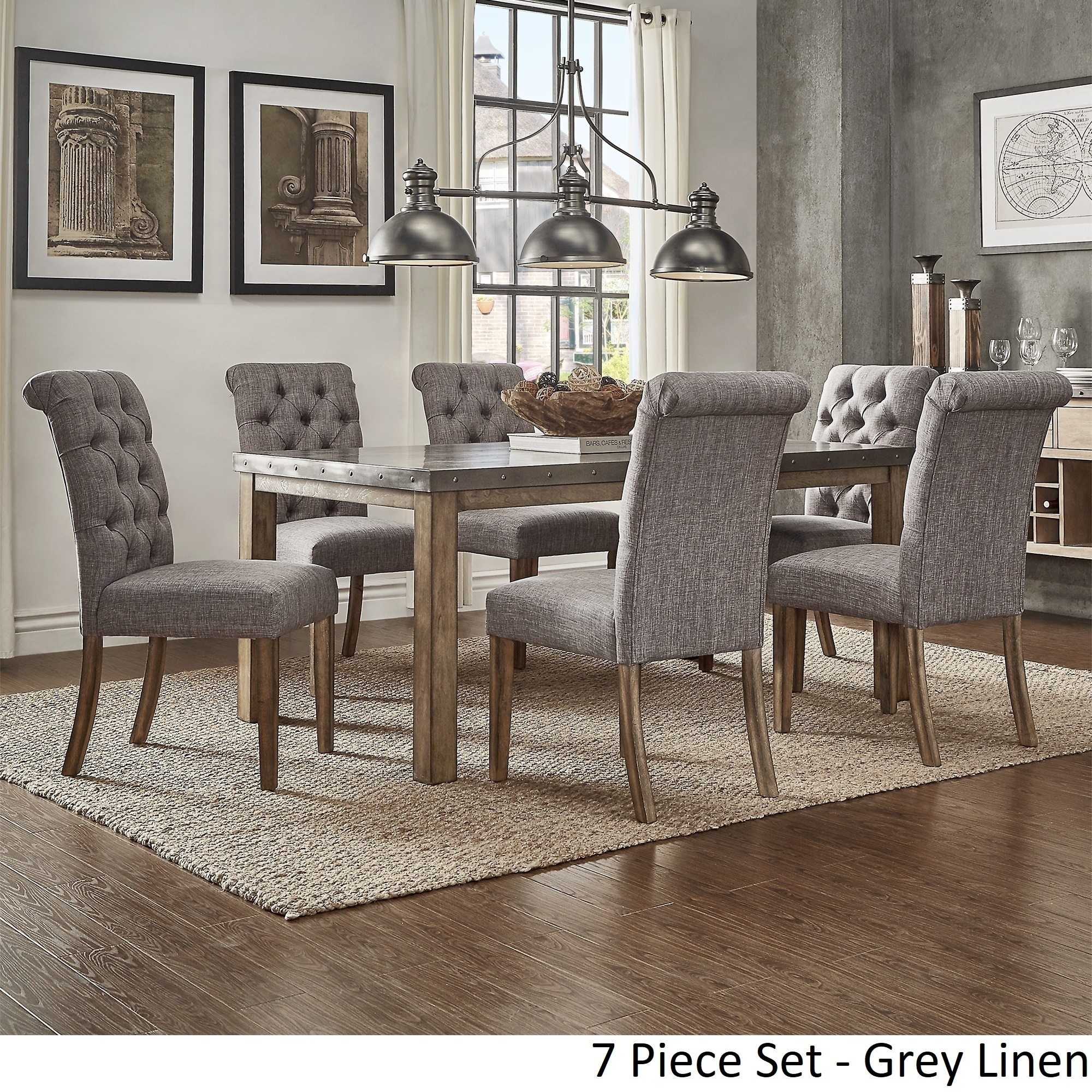Shop Cassidy Stainless Steel Top Rectangle Dining Table Set By INSPIRE Q  Artisan   On Sale   Free Shipping Today   Overstock   17239488