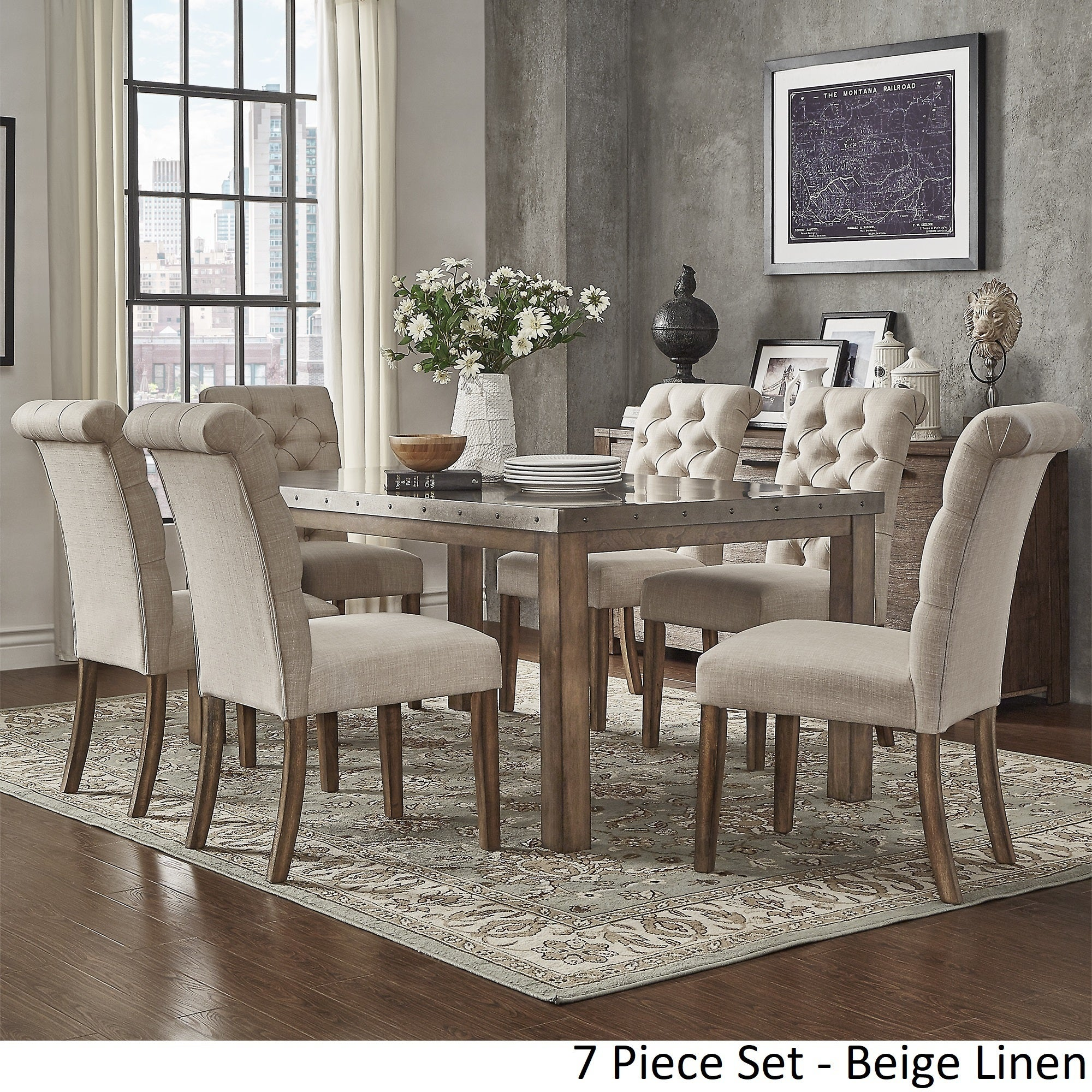 Cassidy Stainless Steel Top Rectangle Dining Table Set by iNSPIRE Q Artisan  - Free Shipping Today - Overstock.com - 23494333