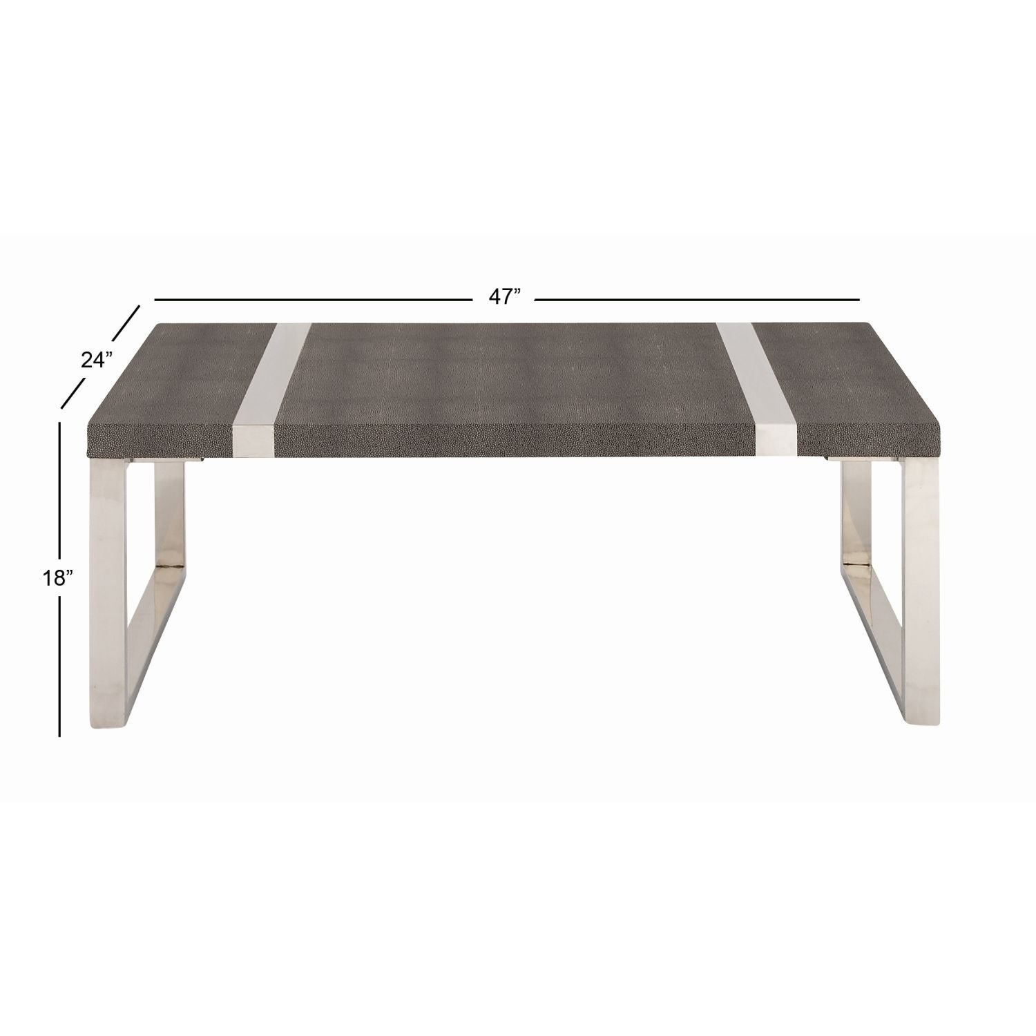 Studio 350 Stainless Steel Wood Coffee Table 47 Inches Wide 18 High Free Shipping Today 17240727