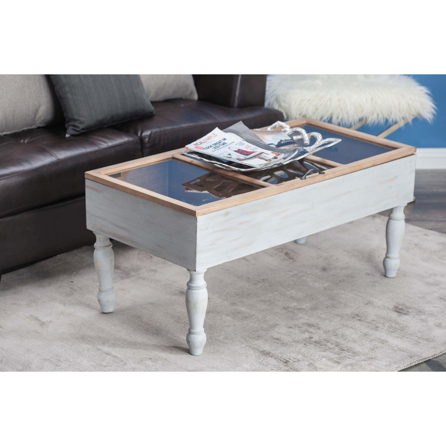 Studio 350 Wood Gl Coffee Table 43 Inches Wide 20 High Free Shipping Today 23495273