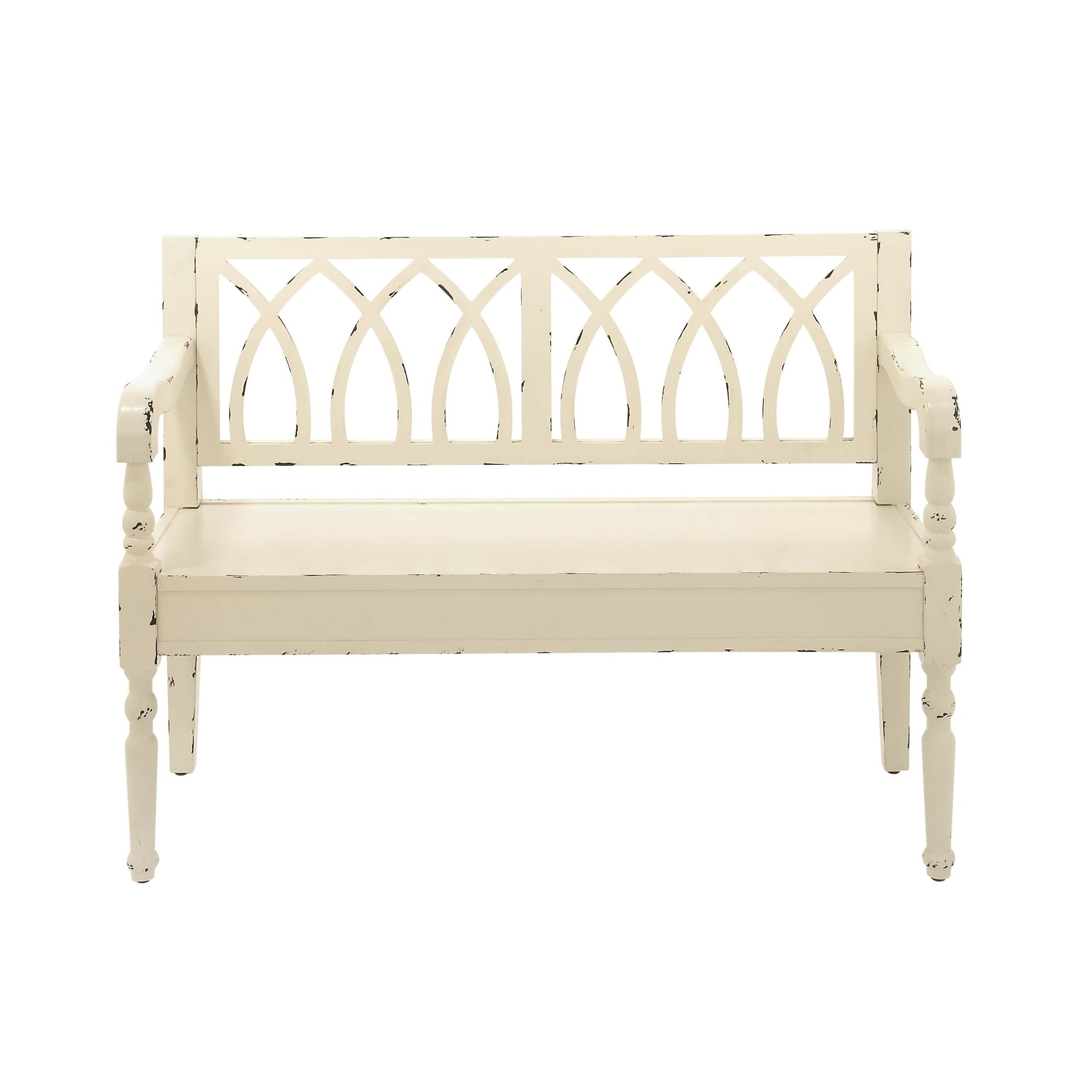 Farmhouse Distressed White Wooden Bench By Studio 350  Free