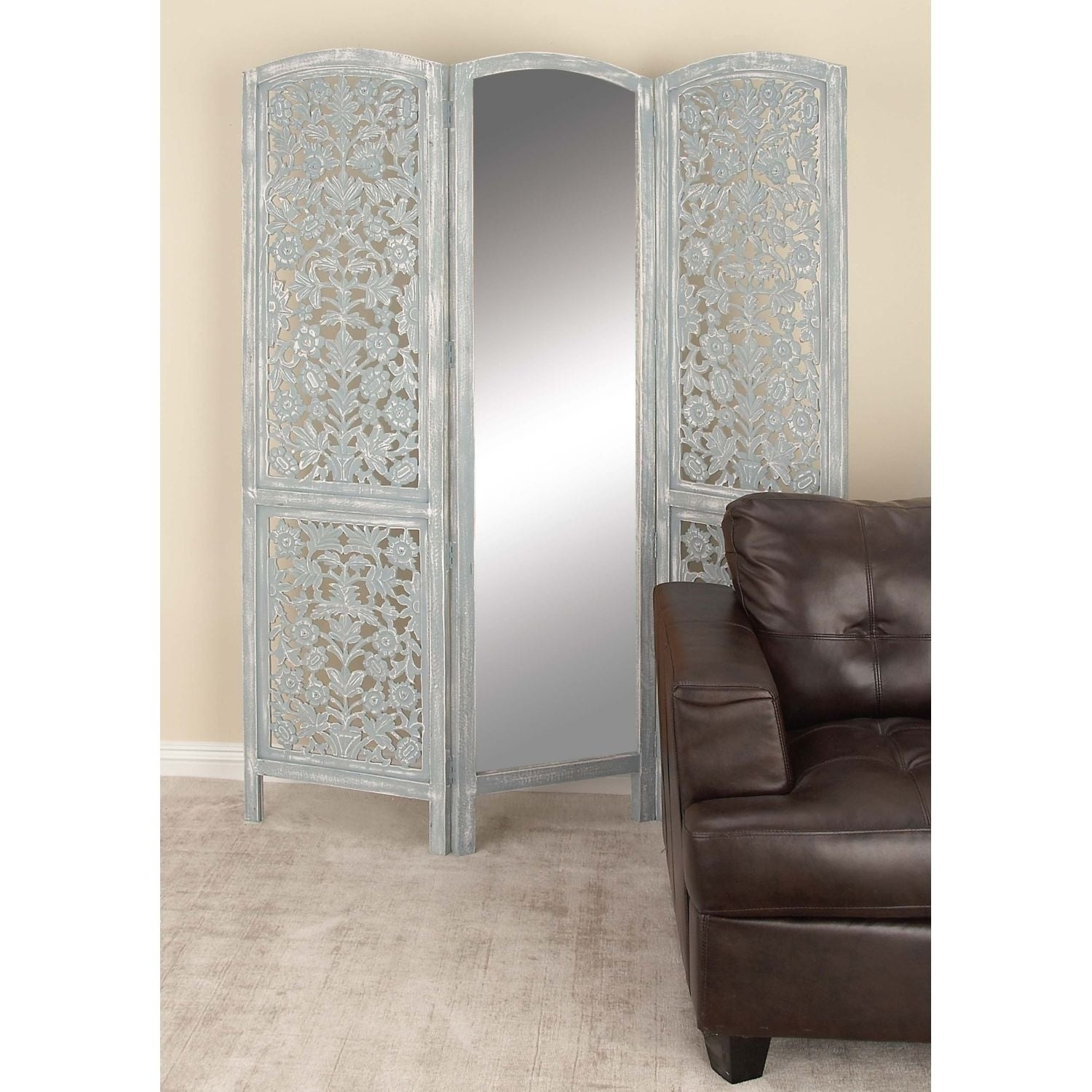 Studio 350 Wood Mirror 3 Panel Screen 60 inches wide, 72 inches ...
