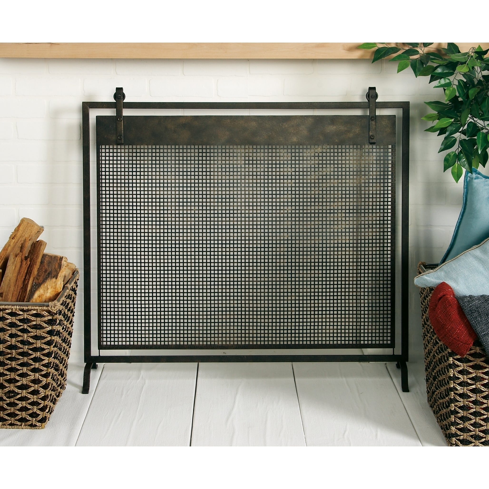 Shop Contemporary 35 X 38 Inch Iron Mesh Fireplace Screen By Studio
