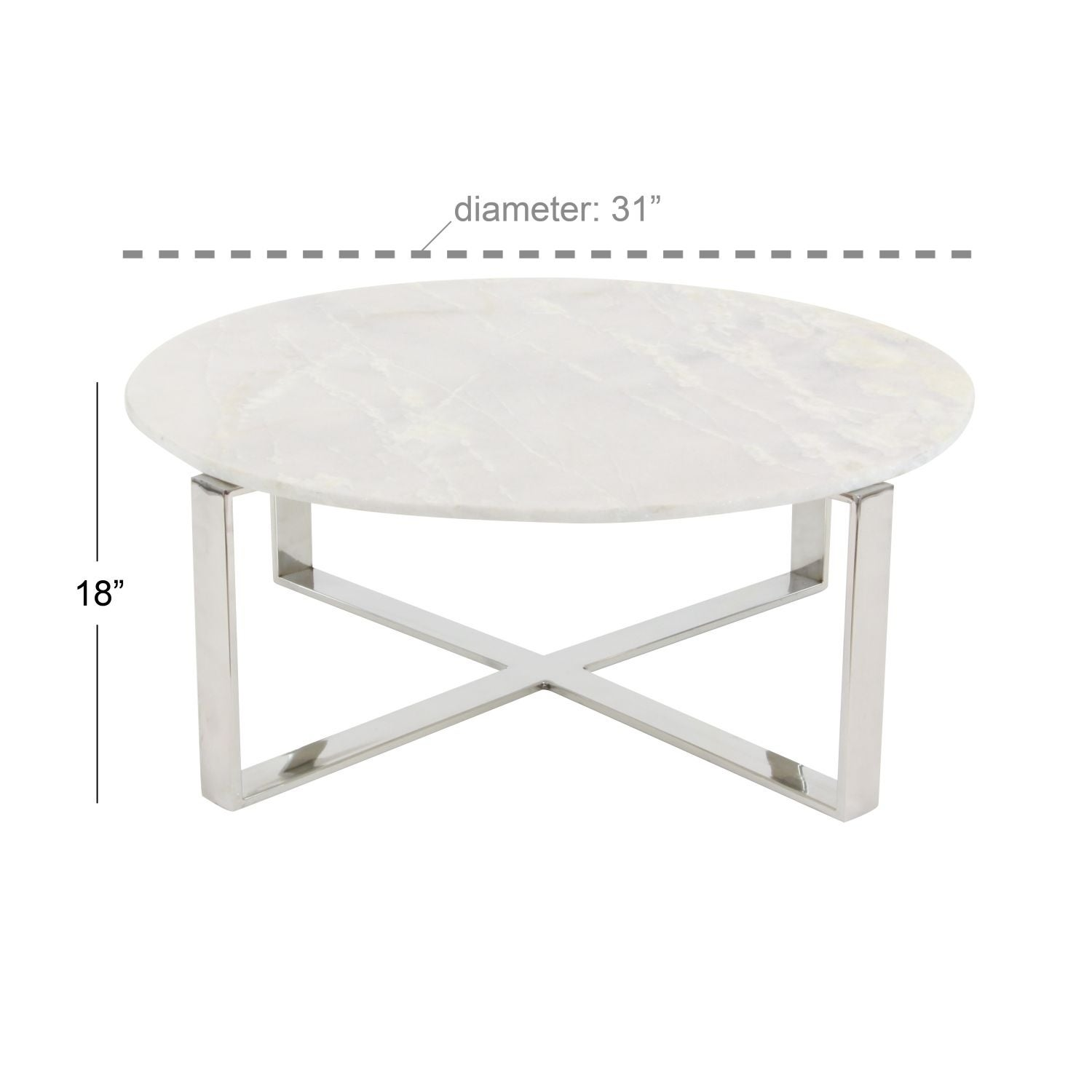 Studio 350 Stainless Steel Marble Coffee Table 31 inches wide 18