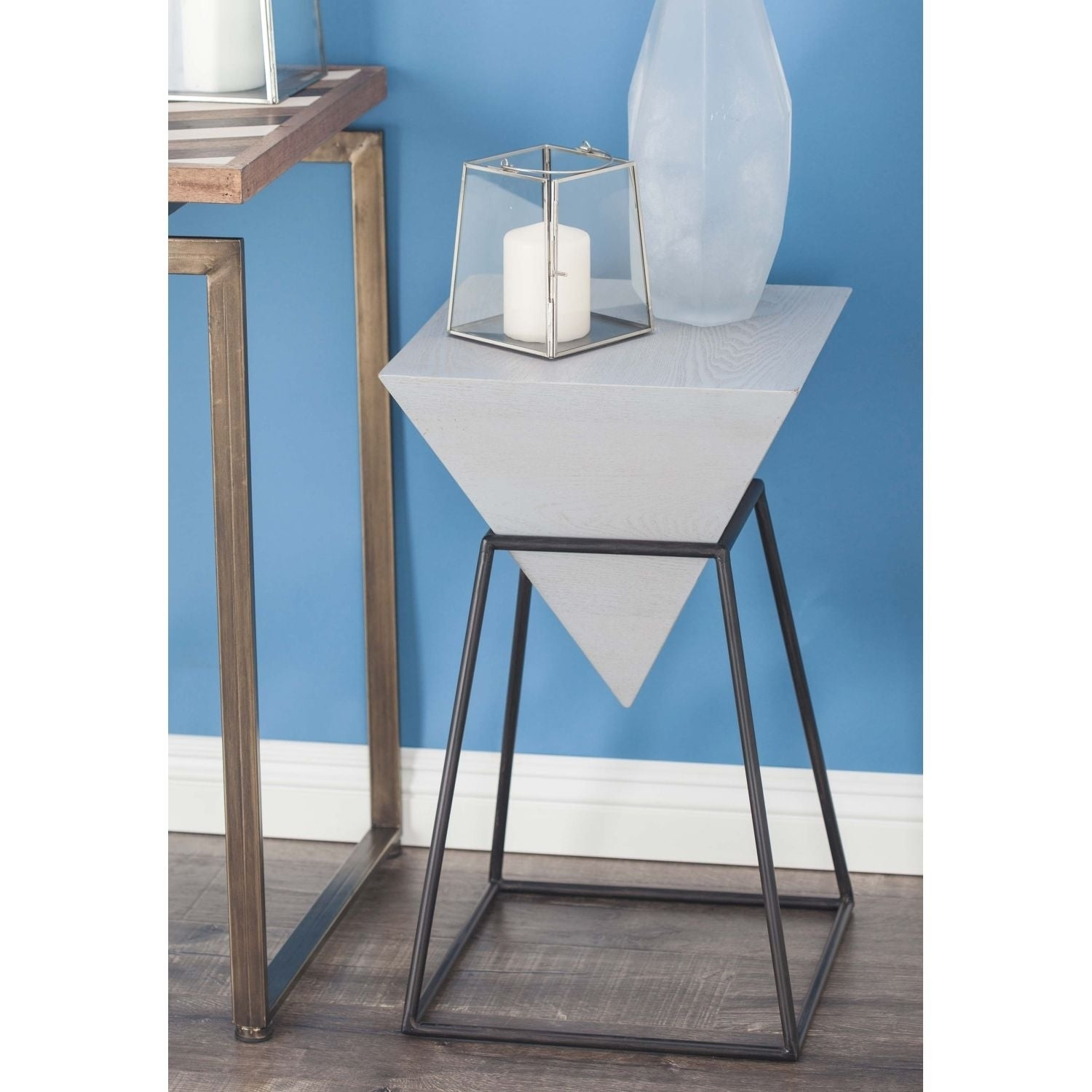 Shop Studio 350 Wood Metal Diamond Accent Table 20 inches wide, 25 ...