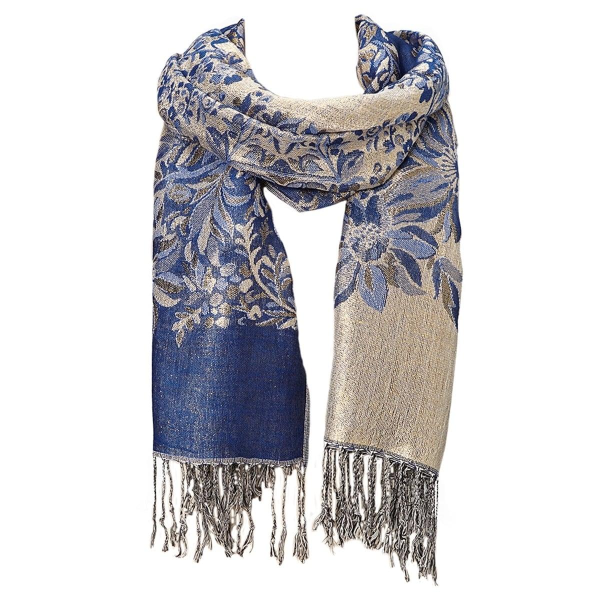 c40c6b9bf Shop Beautifully Designed Ladies Silk Metallic Blend soft Pashmina Scarf (Royal  Blue) … - Large - Free Shipping Today - Overstock - 17265598