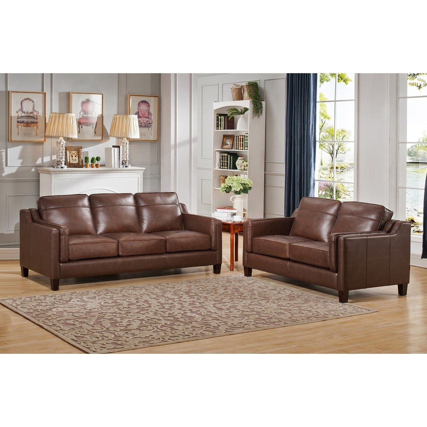 Hydeline By Amax Acorn Top Grain Leather Brown Sofa And Loveseat  ~ Brown Sofa And Loveseat Sets