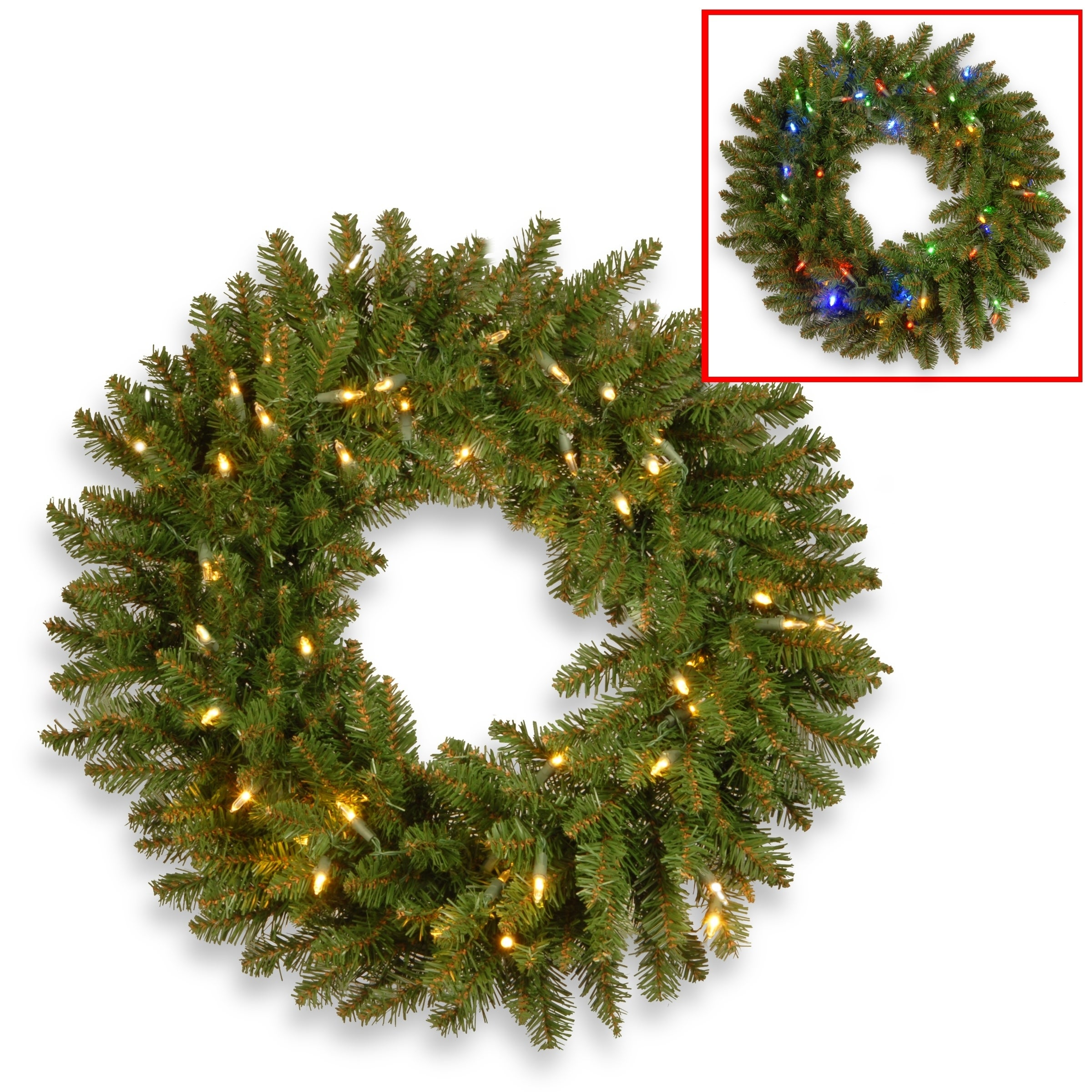 shop 30 kingswood fir wreath with battery operated dual color led lights free shipping today overstockcom 17279551