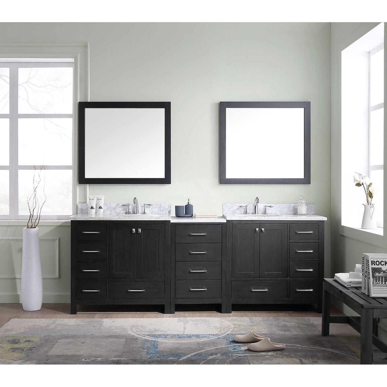 Shop Virtu USA Caroline Premium 90-inch Double Bathroom Vanity Set ...