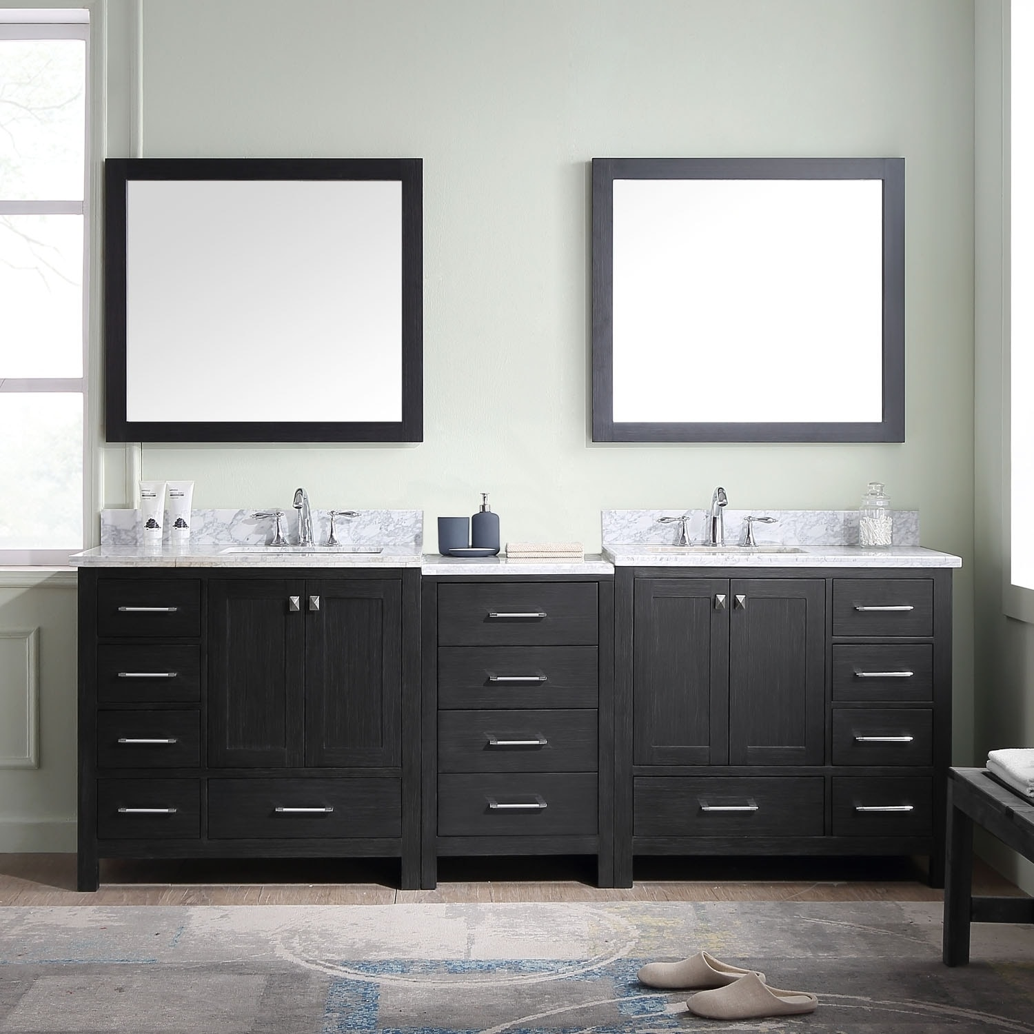Charmant Shop Virtu USA Caroline Premium 90 Inch Double Bathroom Vanity Set   Free  Shipping Today   Overstock.com   17285653