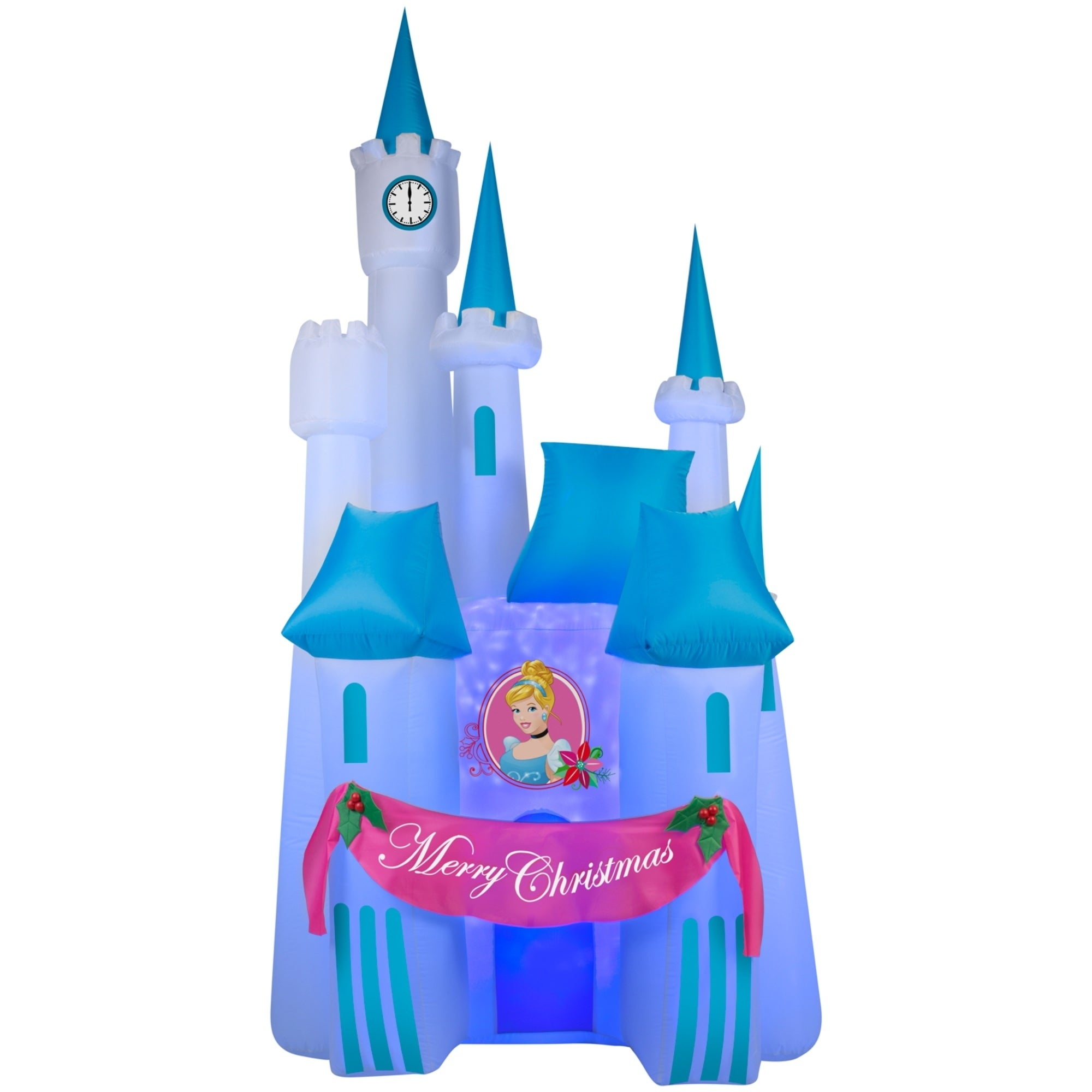 shop christmas airblown inflatable projection kaleidoscope of cinderellas disney castle scene free shipping today overstockcom 17288967 - Disney Inflatable Christmas Decorations