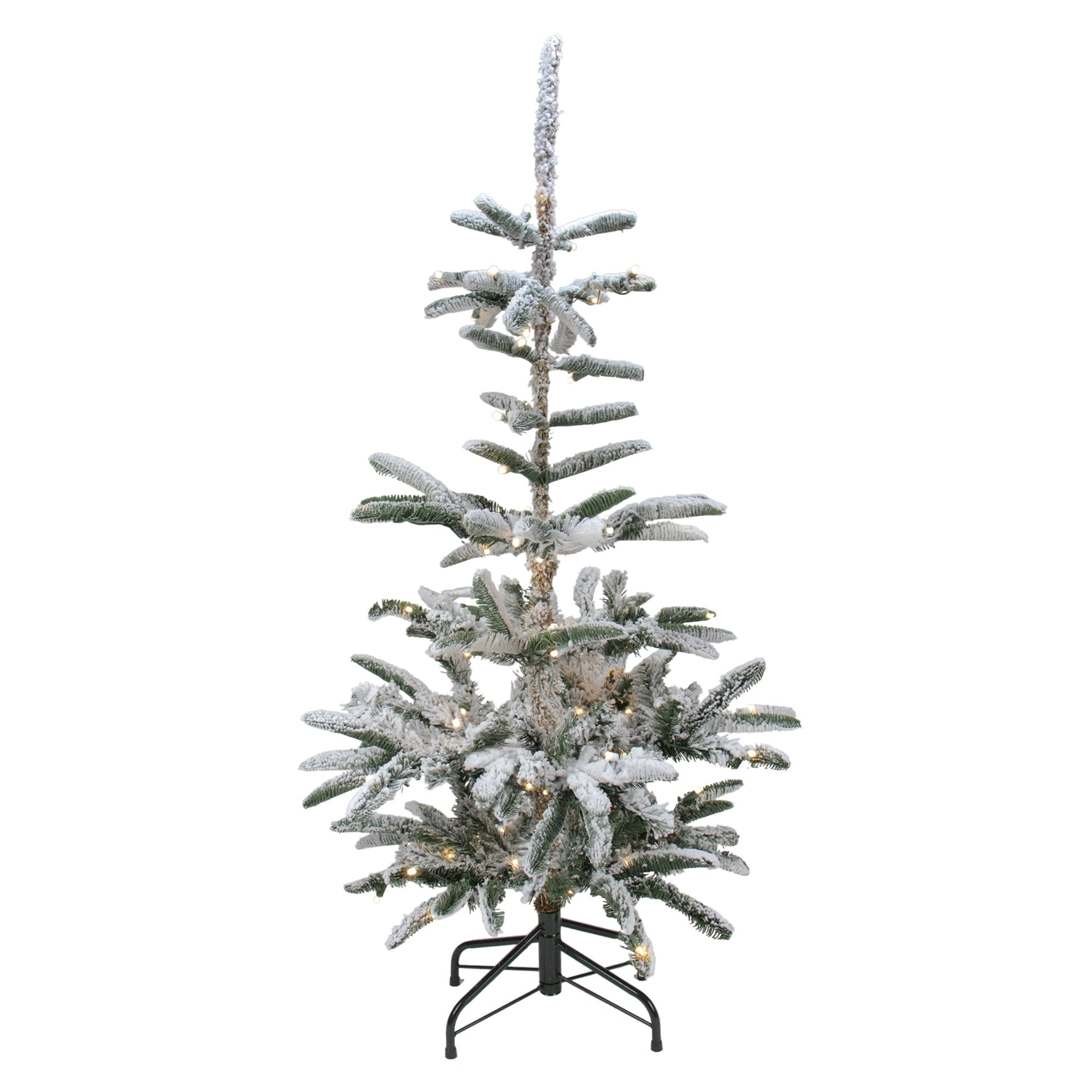 4 5 Pre Lit Noble Fir Artificial Flocked Christmas Tree Warm Clear Led Lights