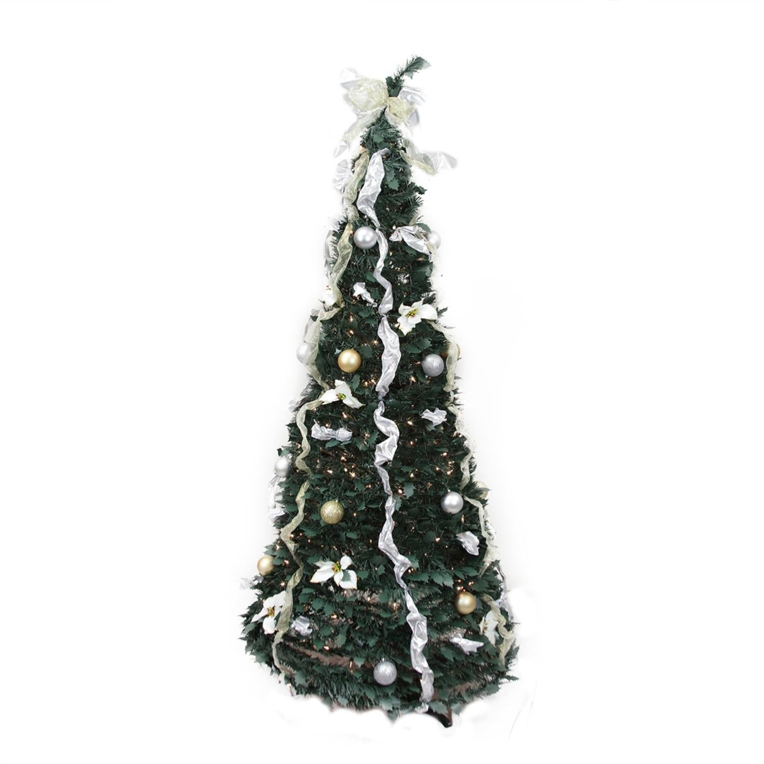 shop 6 pre lit pop up decorated silvergold artificial christmas tree clear lights free shipping today overstockcom 17289204