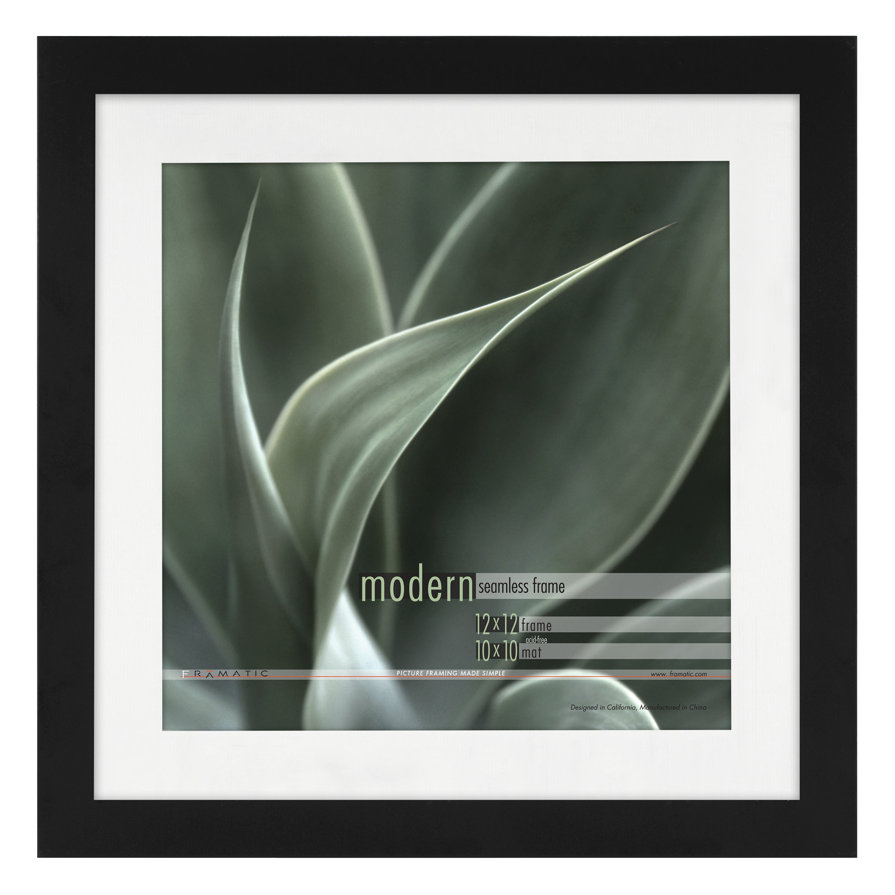 Shop Modern Black 12x12 Picture Frame matted for 10x10 Photo - Free ...