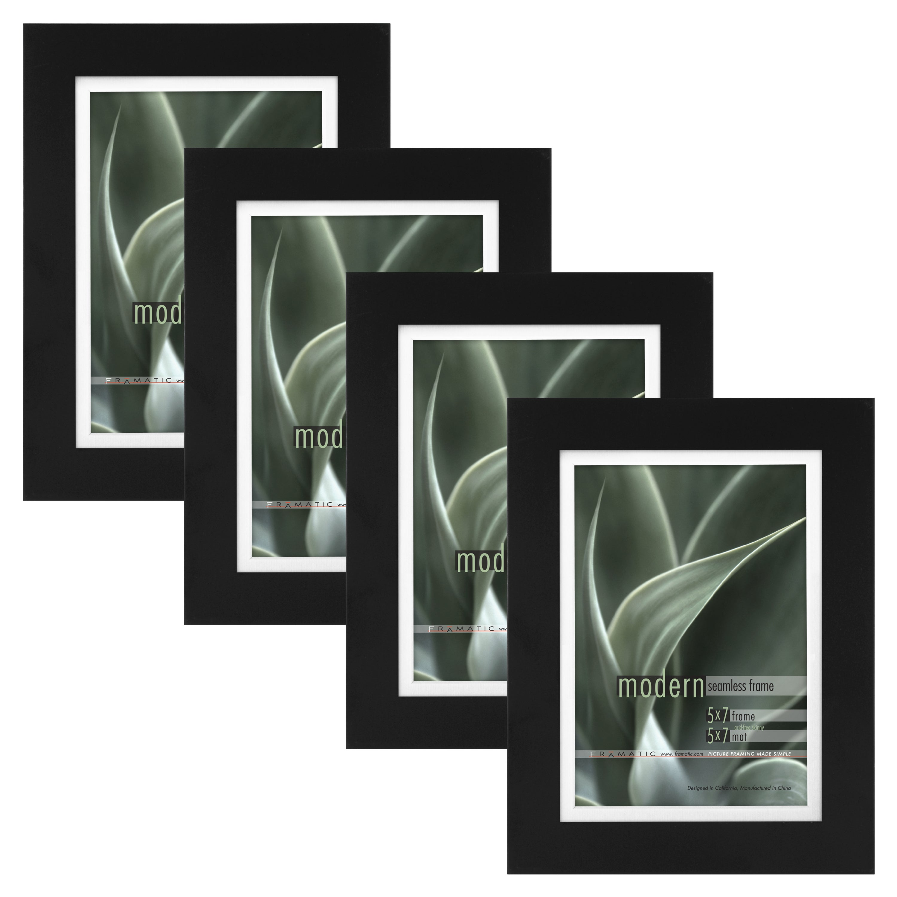 Shop Modern Black 5x7 Picture Frame With 5x7 Skinny Mat Set Of Four