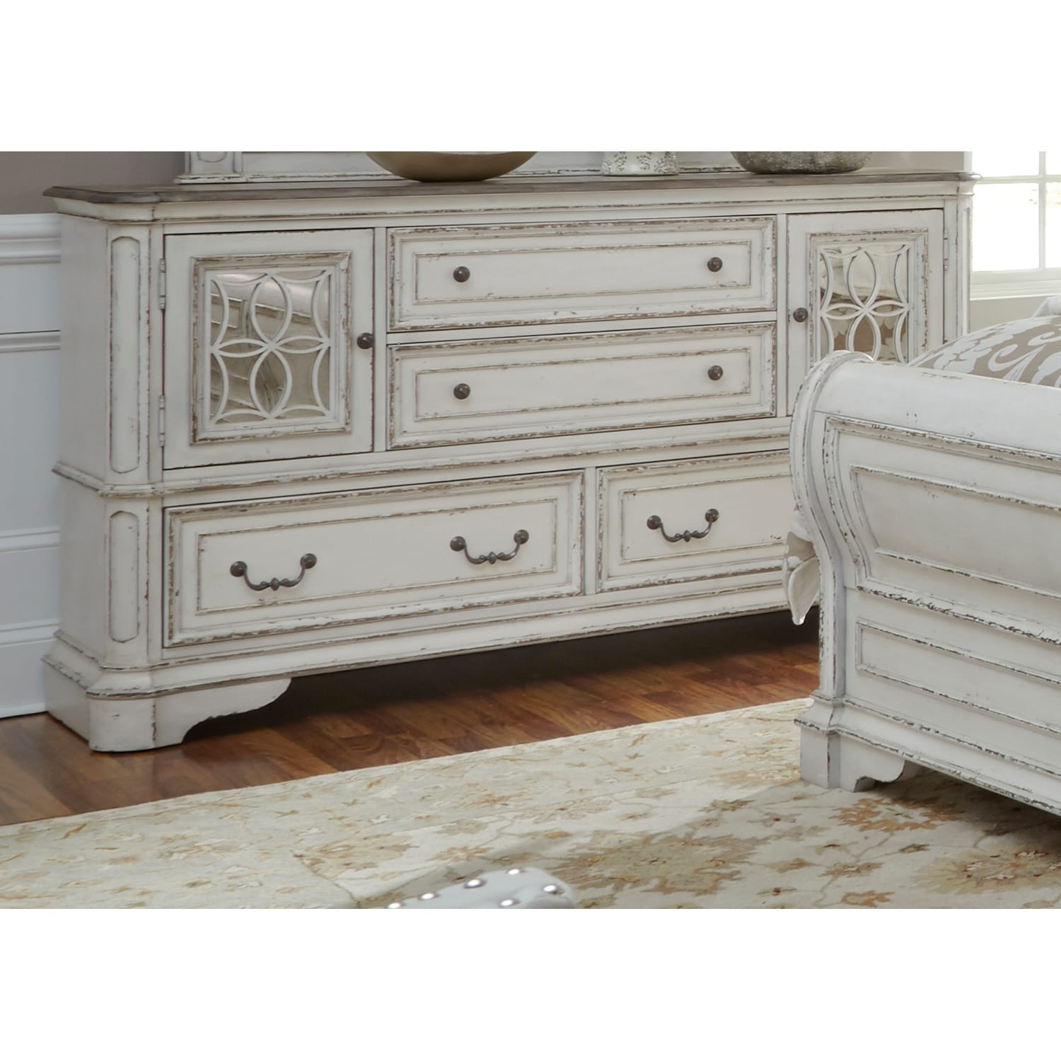 Shop Magnolia Manor Antique White 2 Door 4 Drawer Dresser And Arch Mirror  Set   On Sale   Free Shipping Today   Overstock.com   17305883