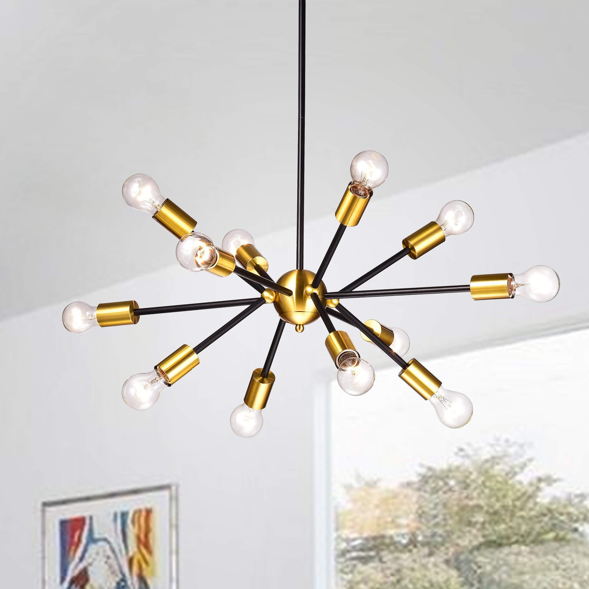 Shop Lorena Sputnik Black Base Metallic Gold Finish Industrial How To Install A Stylish Chandelier On Sale Free Shipping Today 17306800