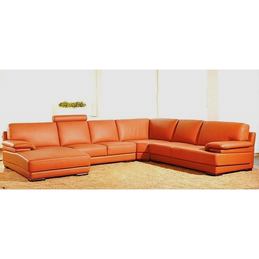 Shop Hagerty Orange Leather U Shaped Sectional Sofa   Free Shipping Today    Overstock.com   17309339