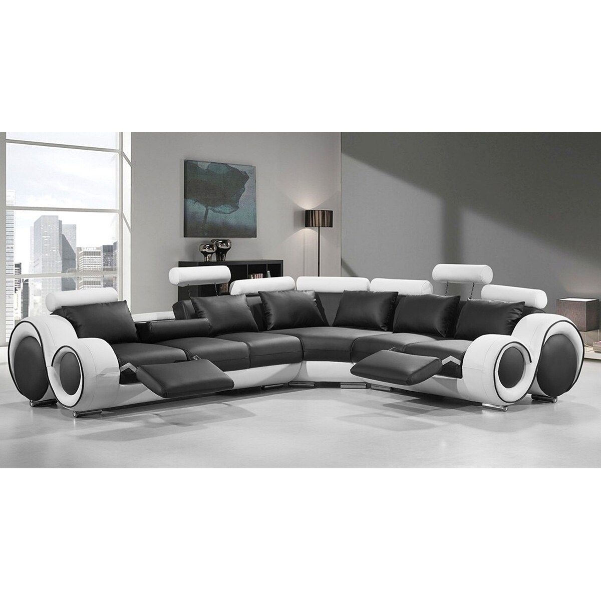 Renaissance Black White Leather L Shaped Sofa With Rounded Armrests Free Shipping Today 17309849