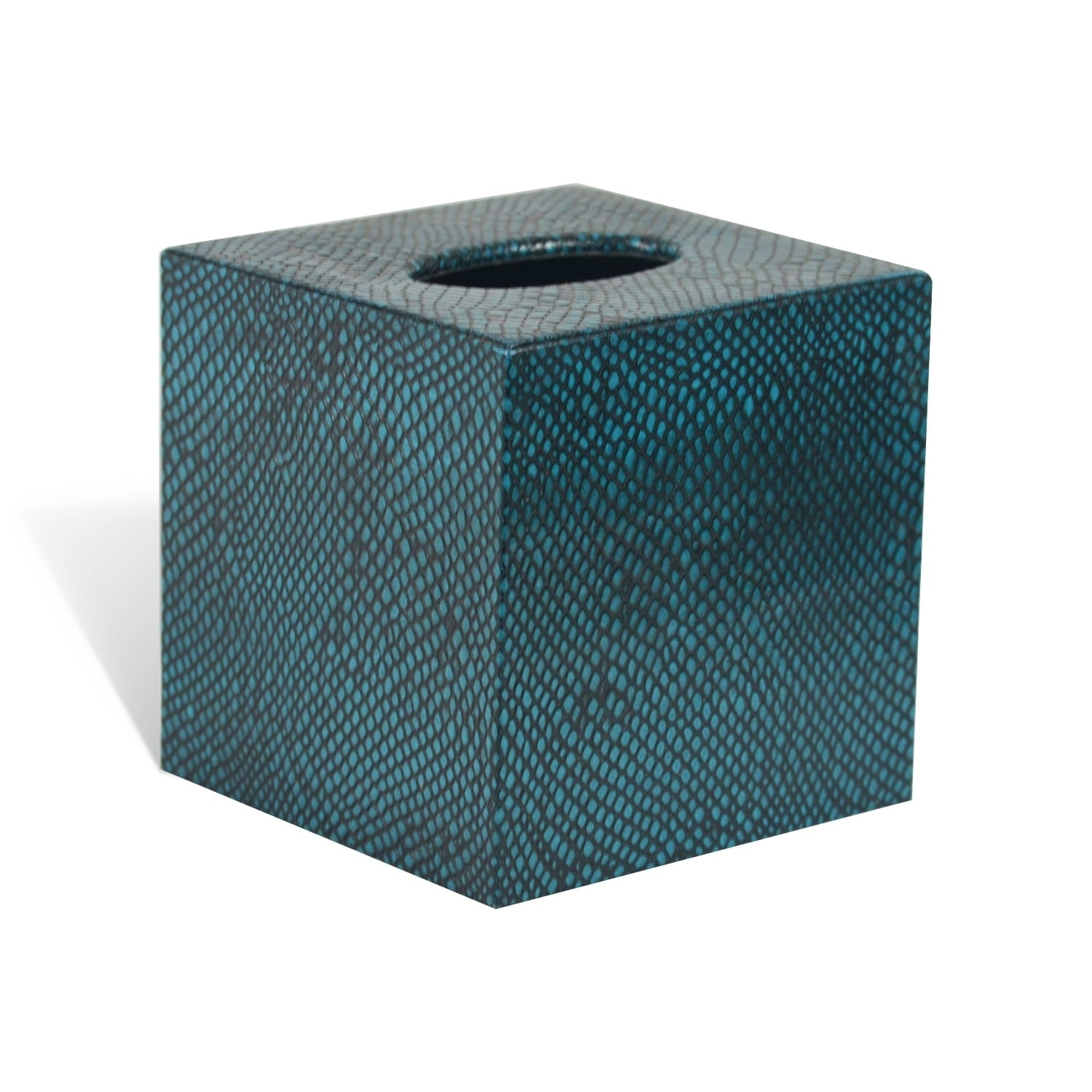 Shop Genuine Leather Tissue Box Cover for Vanity Countertop, Teal ...