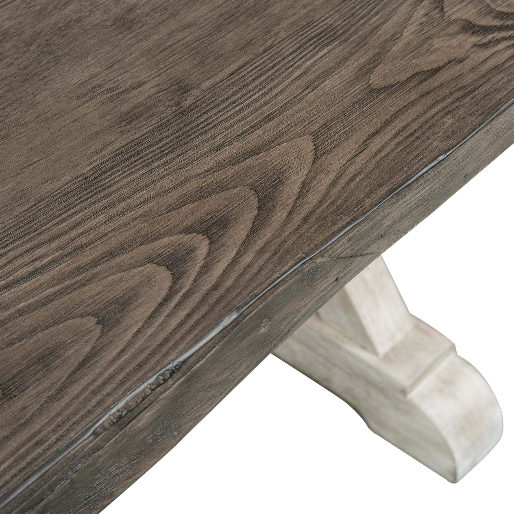 Willowrun Rustic White and Weathered Gray Trestle Table Grey