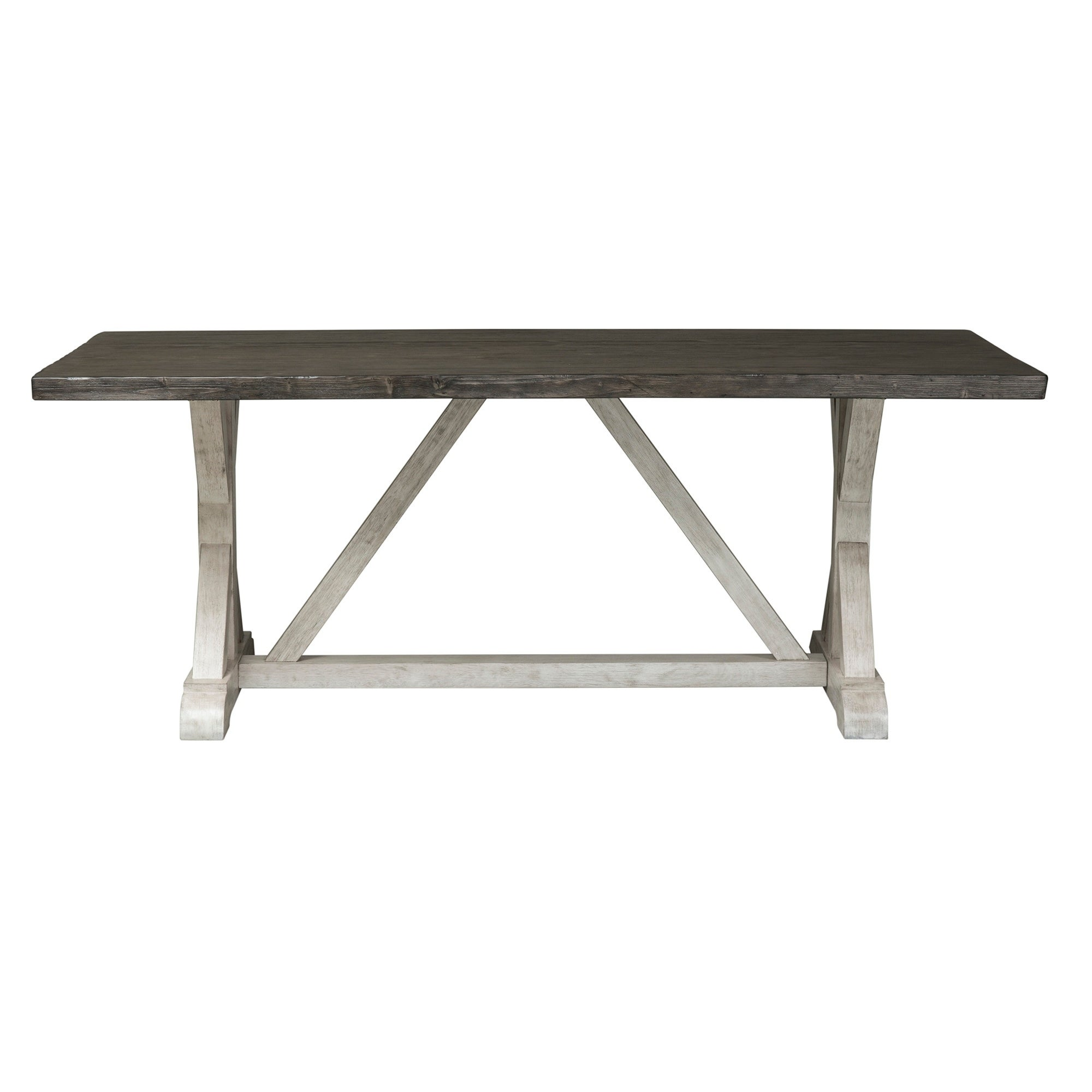 Willowrun Rustic White And Weathered Gray Trestle Table   Grey   Free  Shipping Today   Overstock   23557836