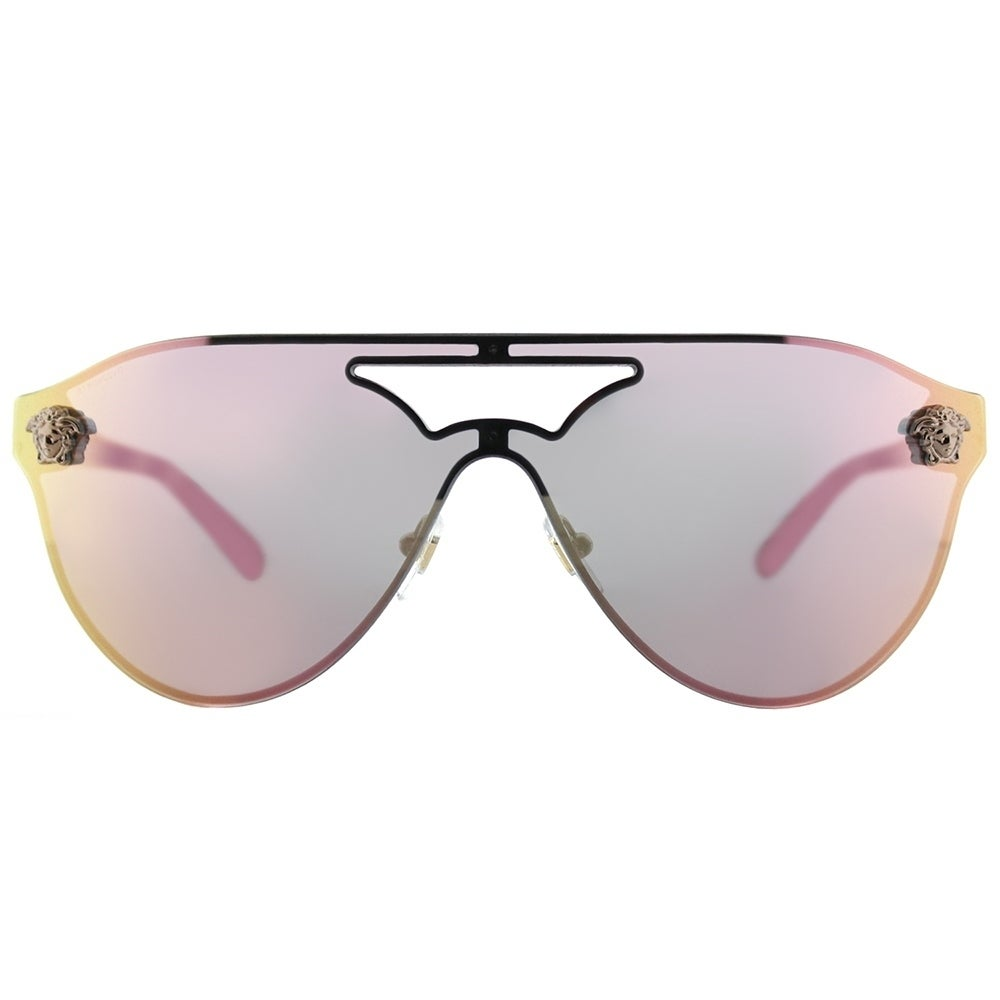 db7801e8015 Shop Versace Aviator VE 2161 10524Z Women Copper Frame Light Pink Gold  Mirror Lens Sunglasses - Free Shipping Today - Overstock - 17323885