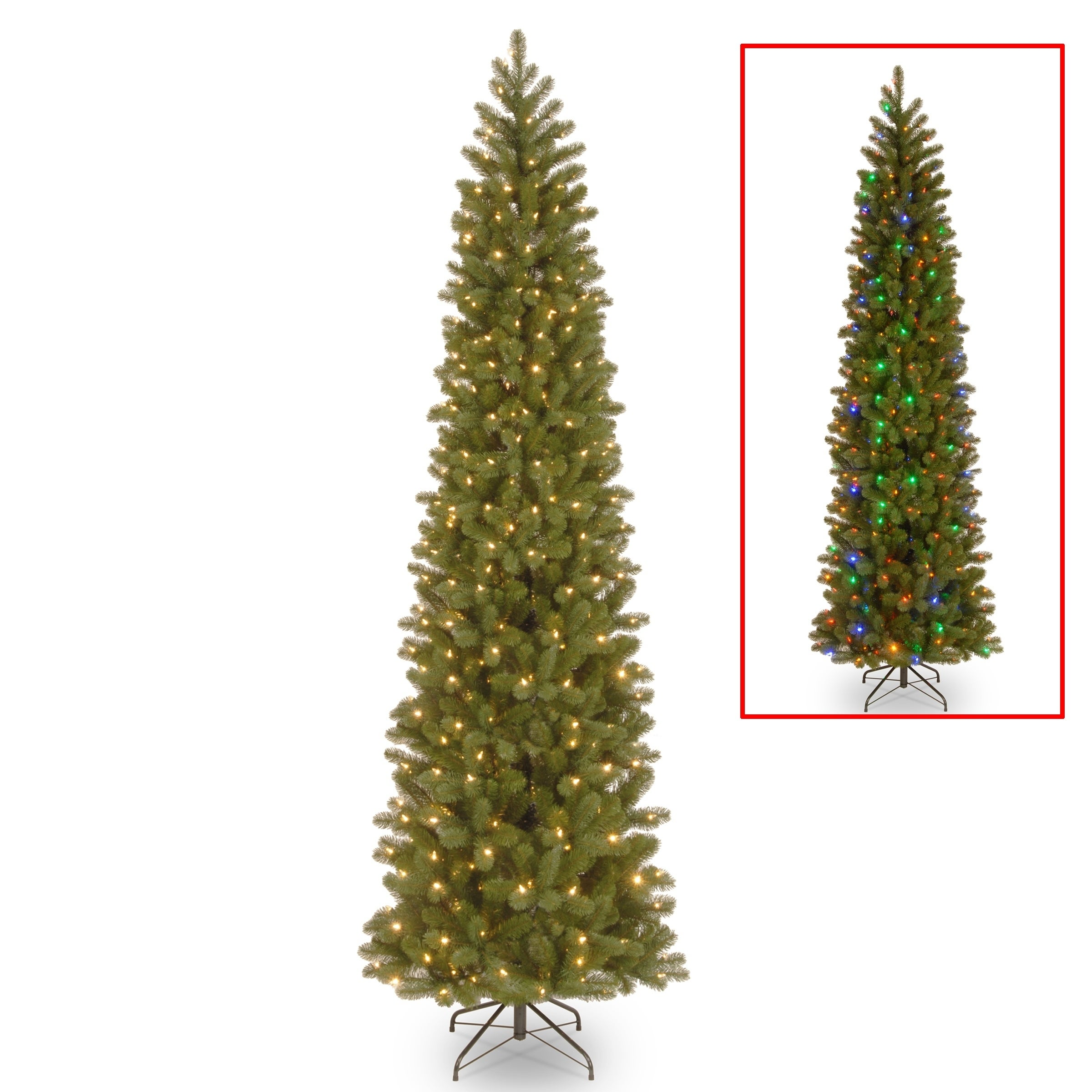 9 Ft Downswept Douglas Pencil Slim Fir Tree With Dual Color Led Lights On Free Shipping Today 17325656
