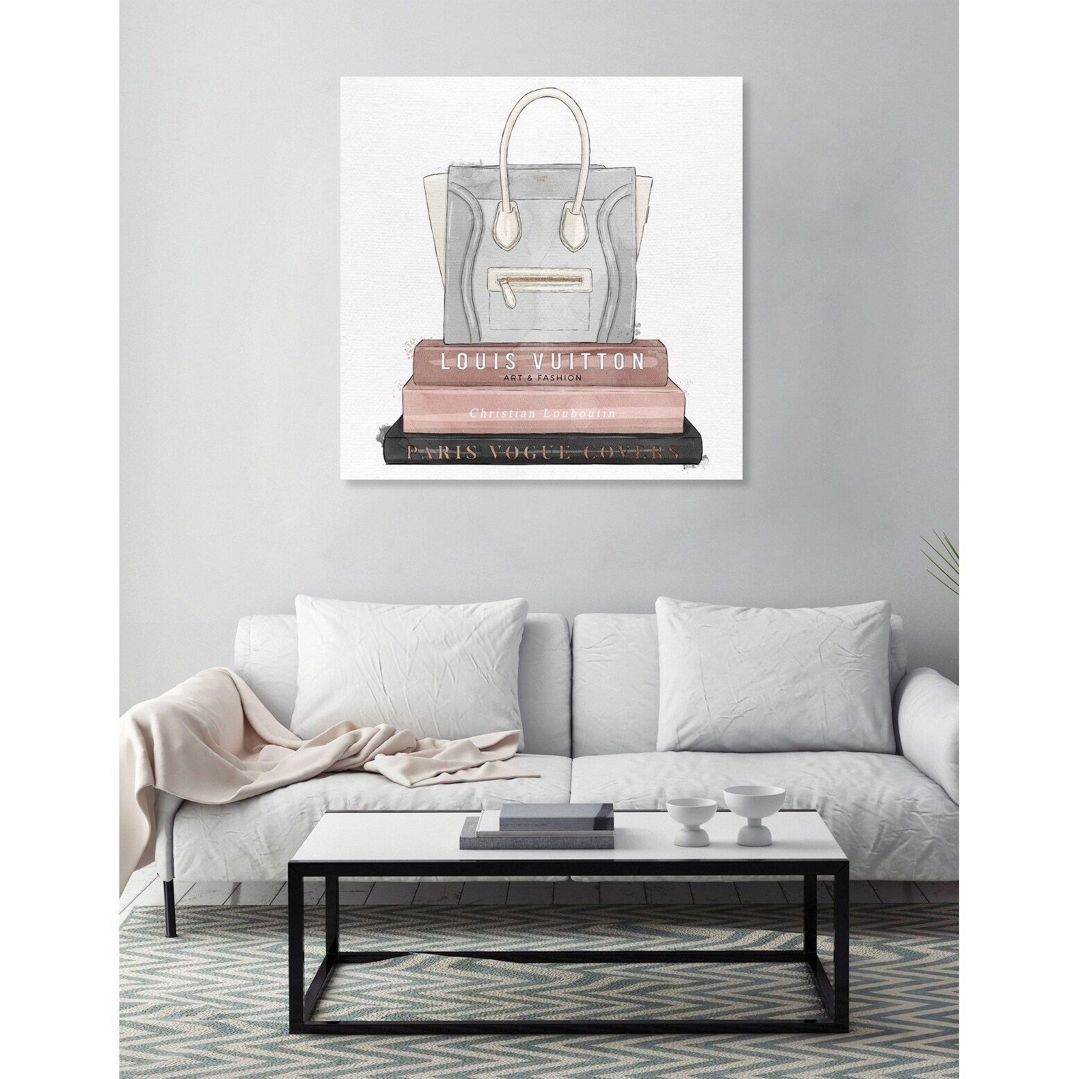 Oliver Gal My Fancy Purse And Books Fashion And Glam Wall Art Canvas Print Blue Pink
