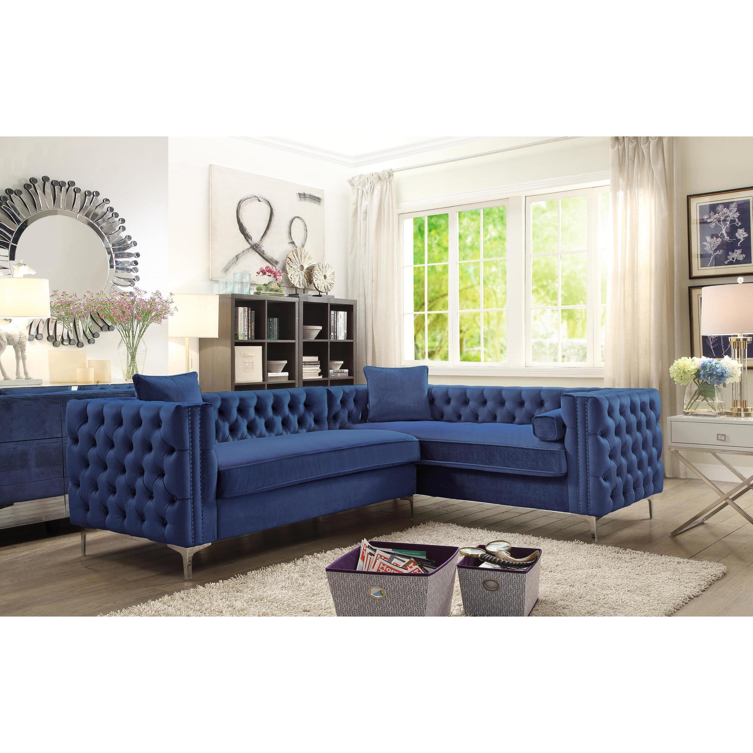 Exceptionnel Shop Chic Home Susan Blue Velvet Tufted Modern Sofa With Silver   On Sale    Free Shipping Today   Overstock.com   17334106
