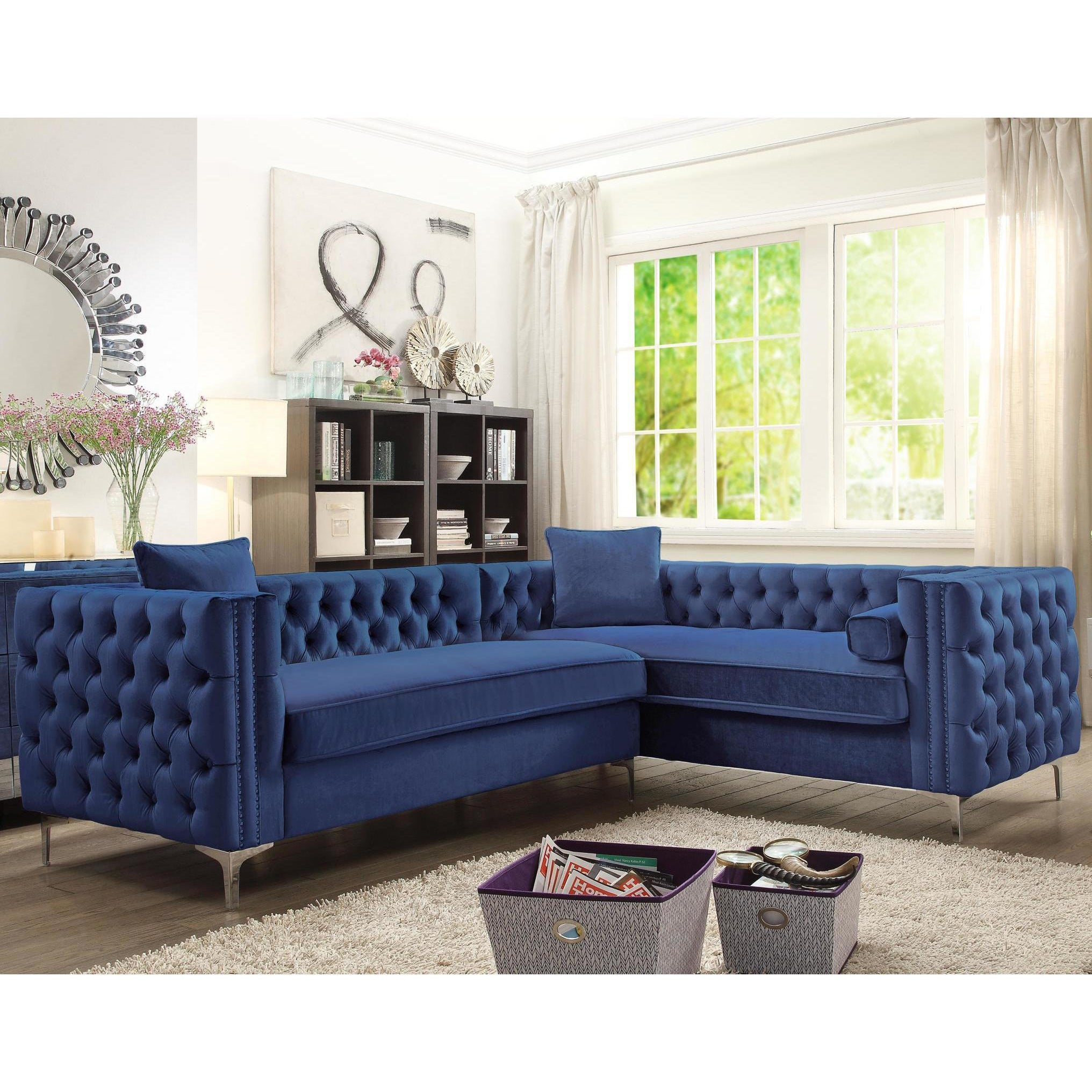 Shop Chic Home Susan Blue Velvet Tufted Modern Sofa with Silver - On ...