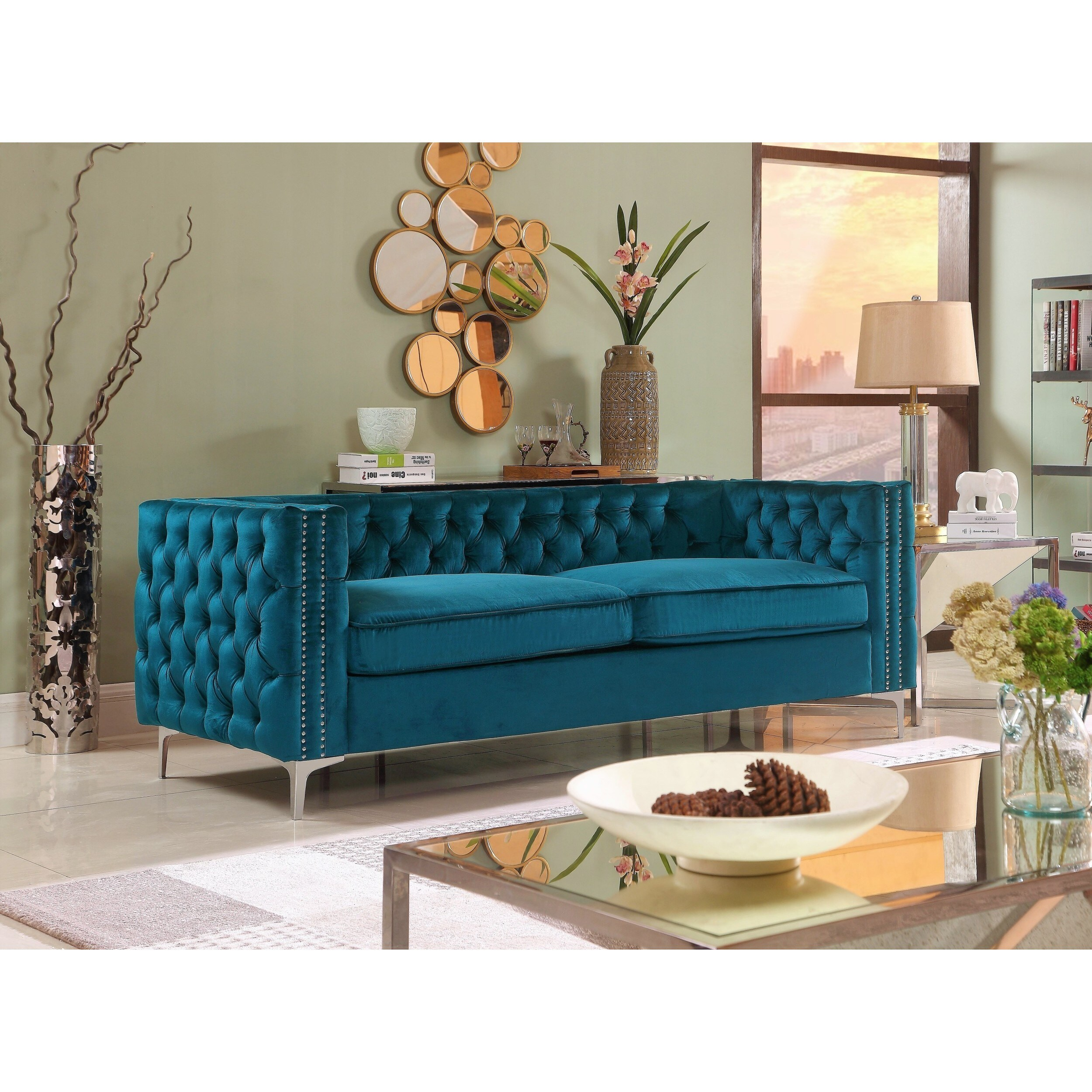 Chic Home Monet On Tufted Teal Velvet Upholstered Sofa Free Shipping Today 17334108