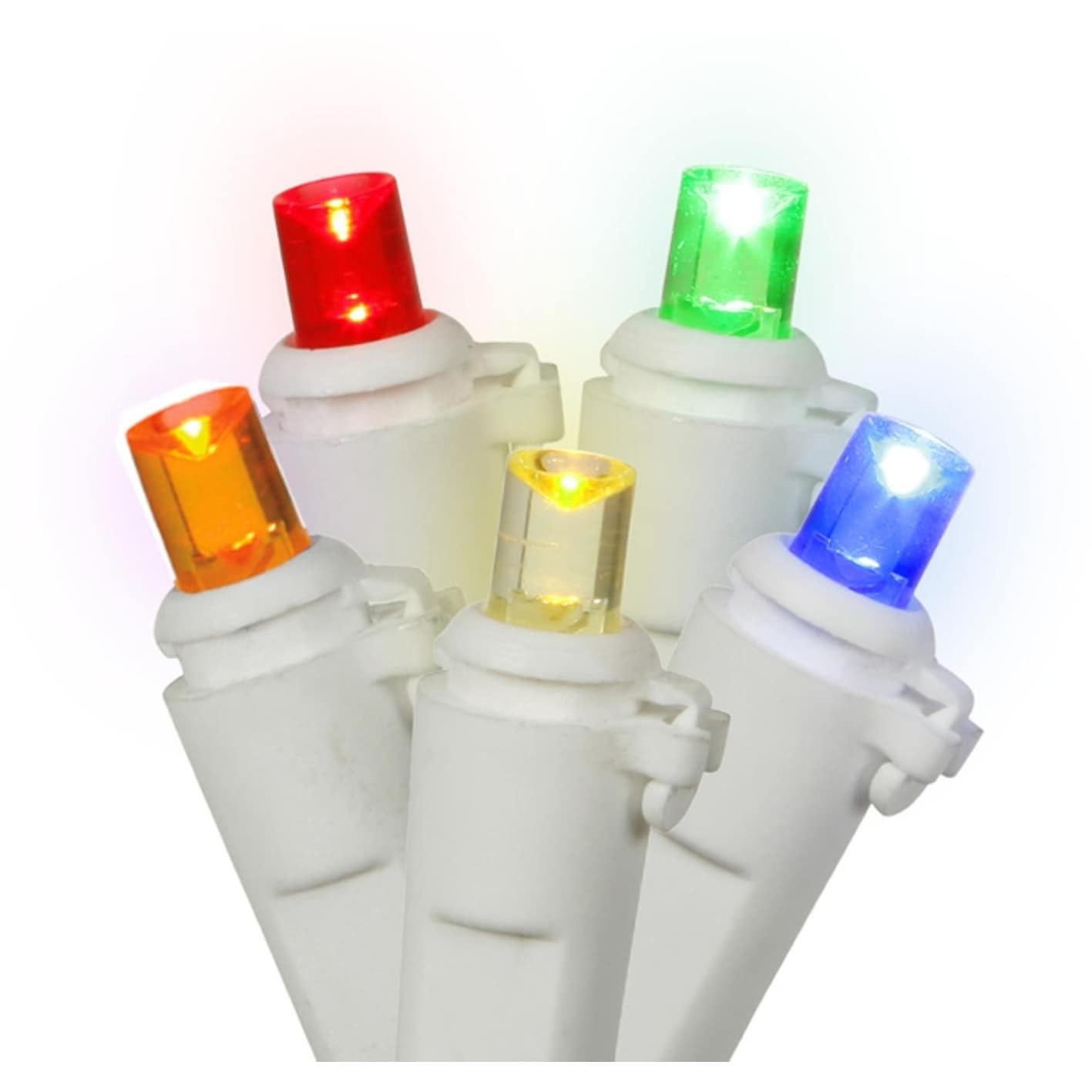 Shop Set of 60 Multi-Color LED Wide Angle Christmas Lights - White ...
