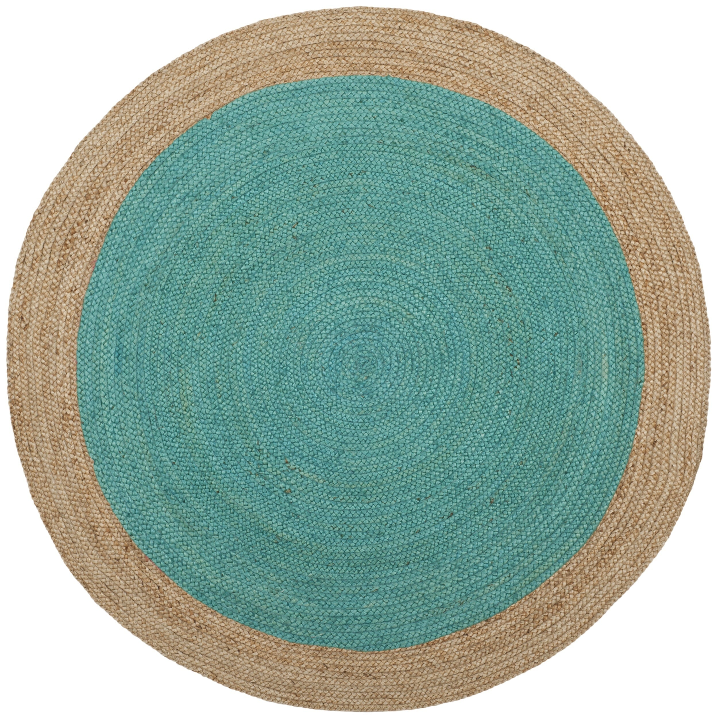 oculus handmade ccda products natural round rug decore green turquoise cm and diameter jute
