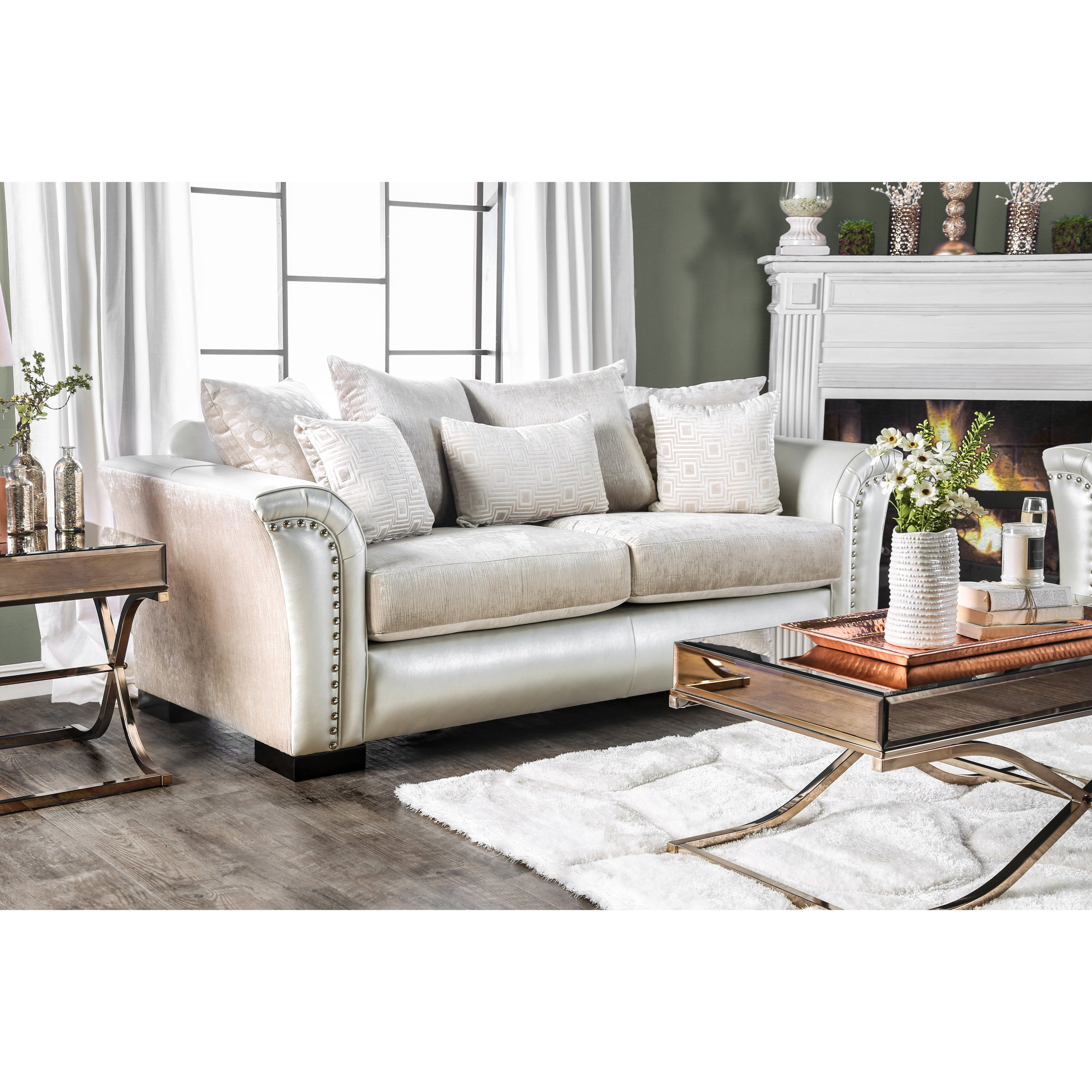 Shop Furniture of America Linwood Classic Contemporary Two-Tone Sofa ...