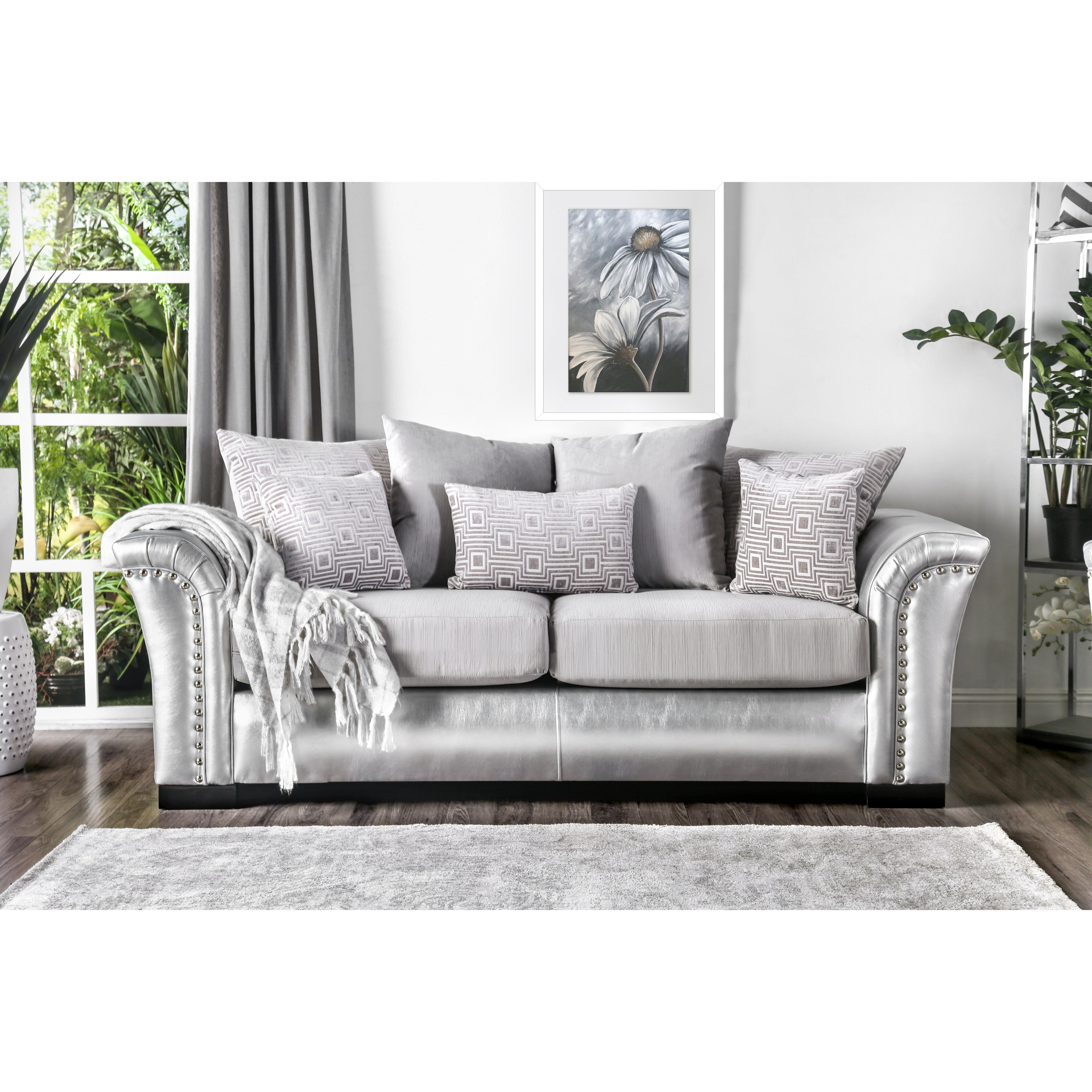 Shop Furniture Of America Linwood Classic Contemporary Two Tone Sofa   Free  Shipping Today   Overstock.com   17351248