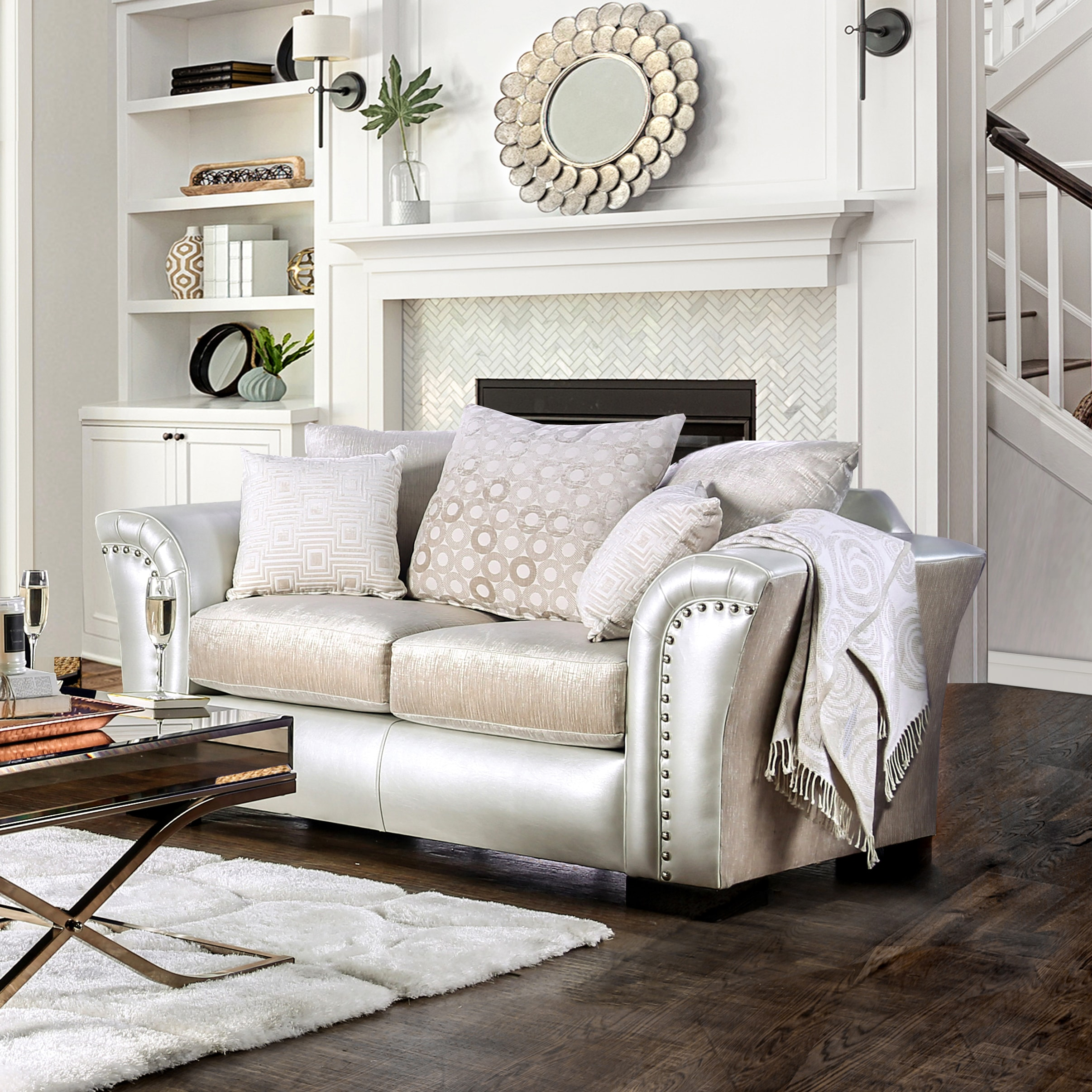 Shop Furniture of America Linwood Two-Tone Velvet and Leatherette ...