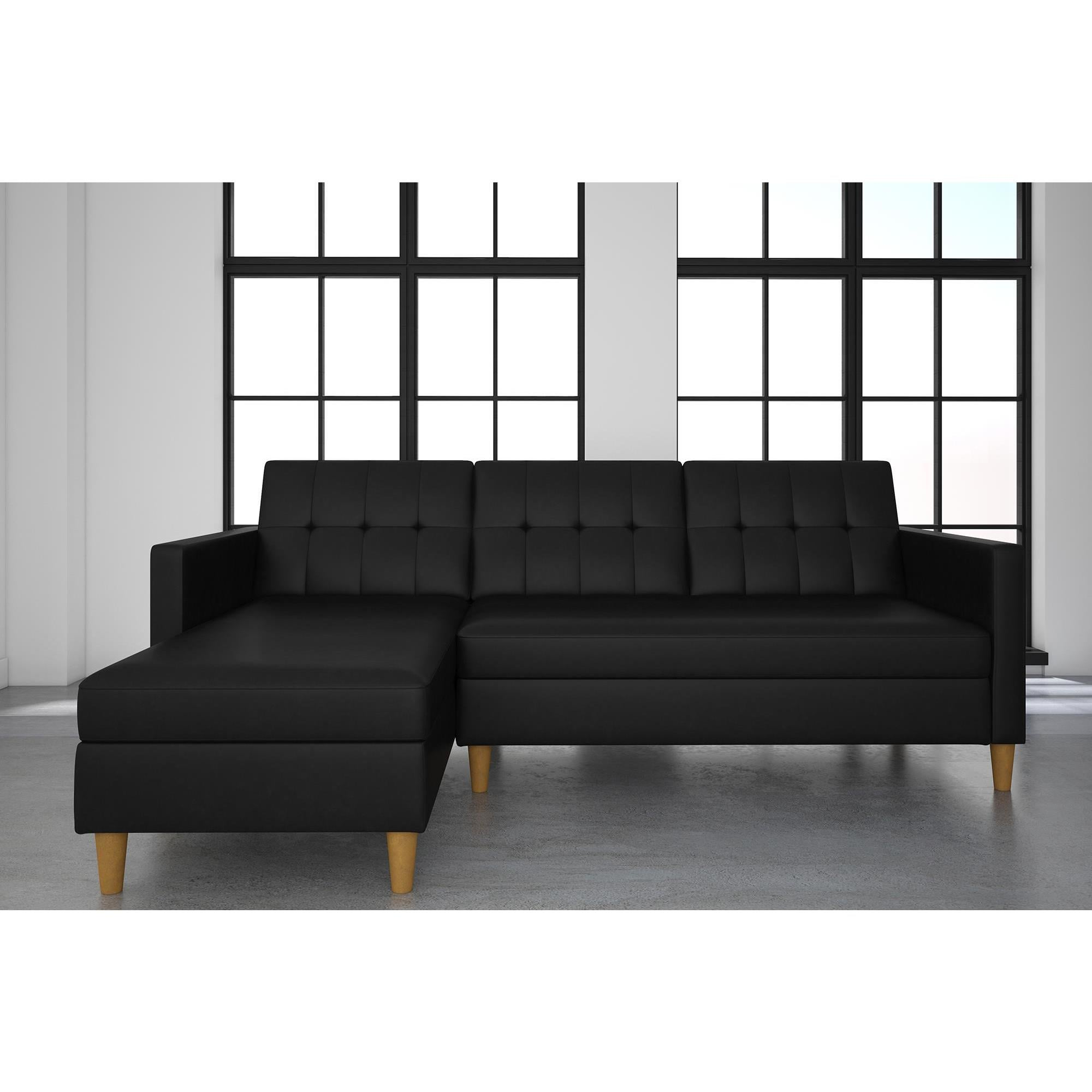 Dhp Hartford Black Faux Leather Storage Sectional Futon Free Shipping Today Com 17351298