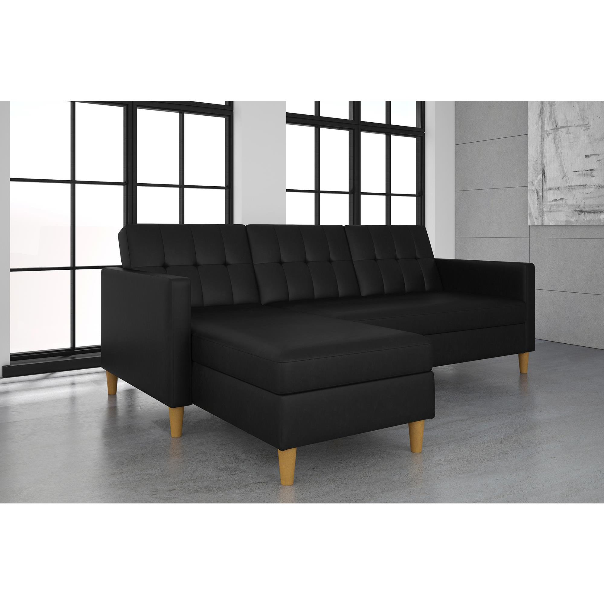 DHP Hartford Black Faux Leather Storage Sectional Futon Free