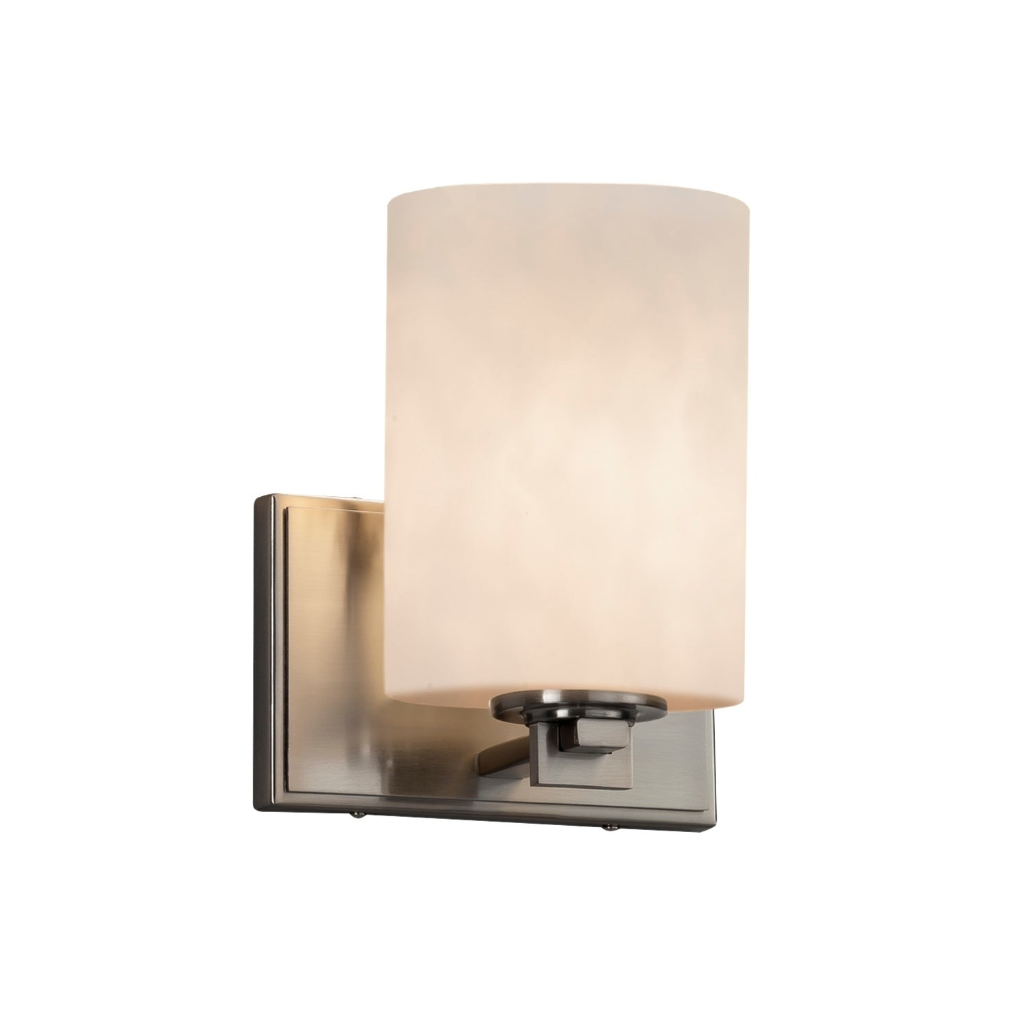 Justice design group clouds era 1 light brushed nickel wall sconce clouds cylinder flat rim shade