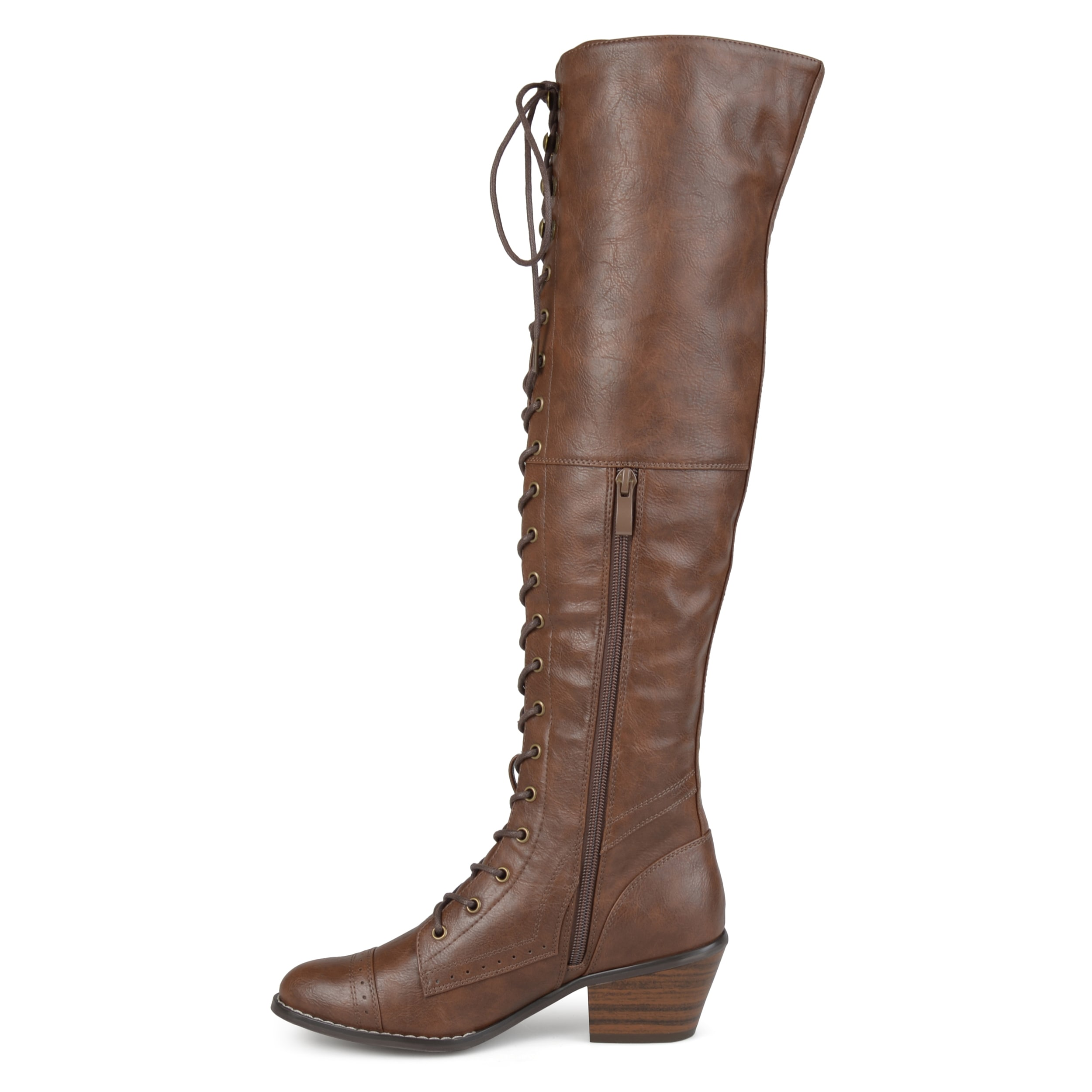180e89444e9 Shop Journee Collection Women s  Bazel  Regular and Wide Calf Brogue Lace-up  Over-the-knee Boots - Free Shipping Today - Overstock - 17351910