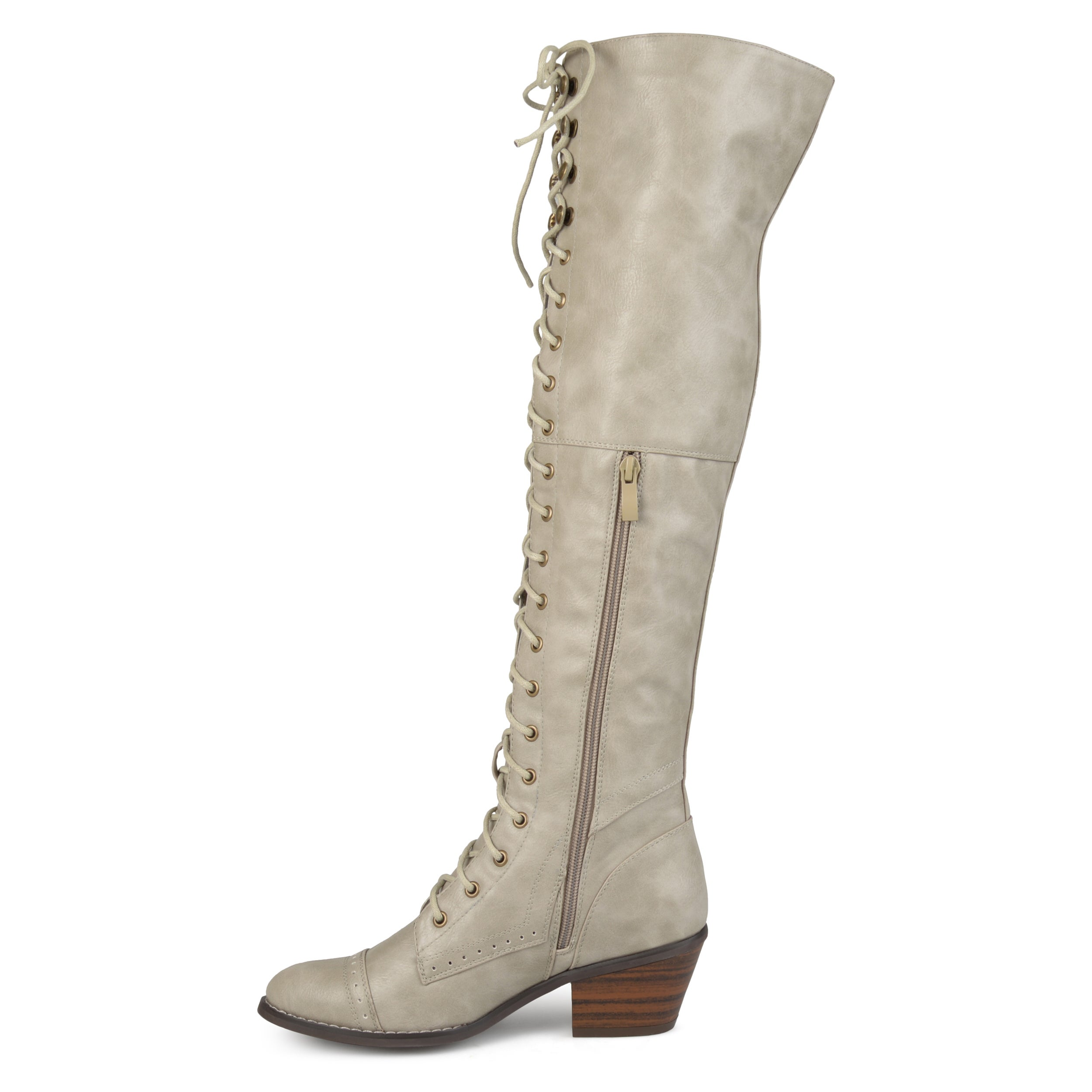 1ffd10a909f Shop Journee Collection Women s  Bazel  Regular and Wide Calf Brogue Lace-up  Over-the-knee Boots - Free Shipping Today - Overstock - 17351910