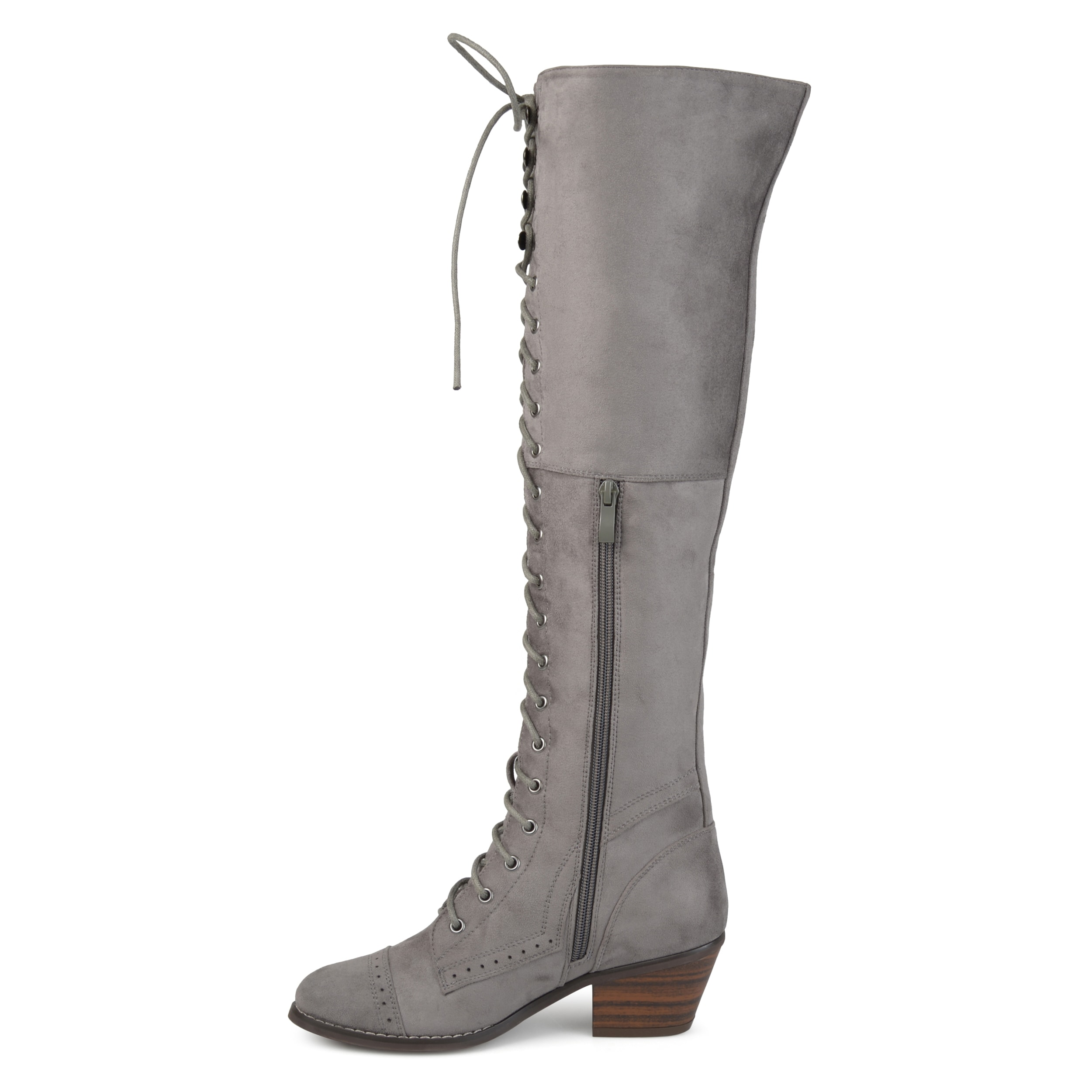 48bebed59b3 Shop Journee Collection Women s  Bazel  Regular and Wide Calf Brogue Lace-up  Over-the-knee Boots - Free Shipping Today - Overstock - 17351916