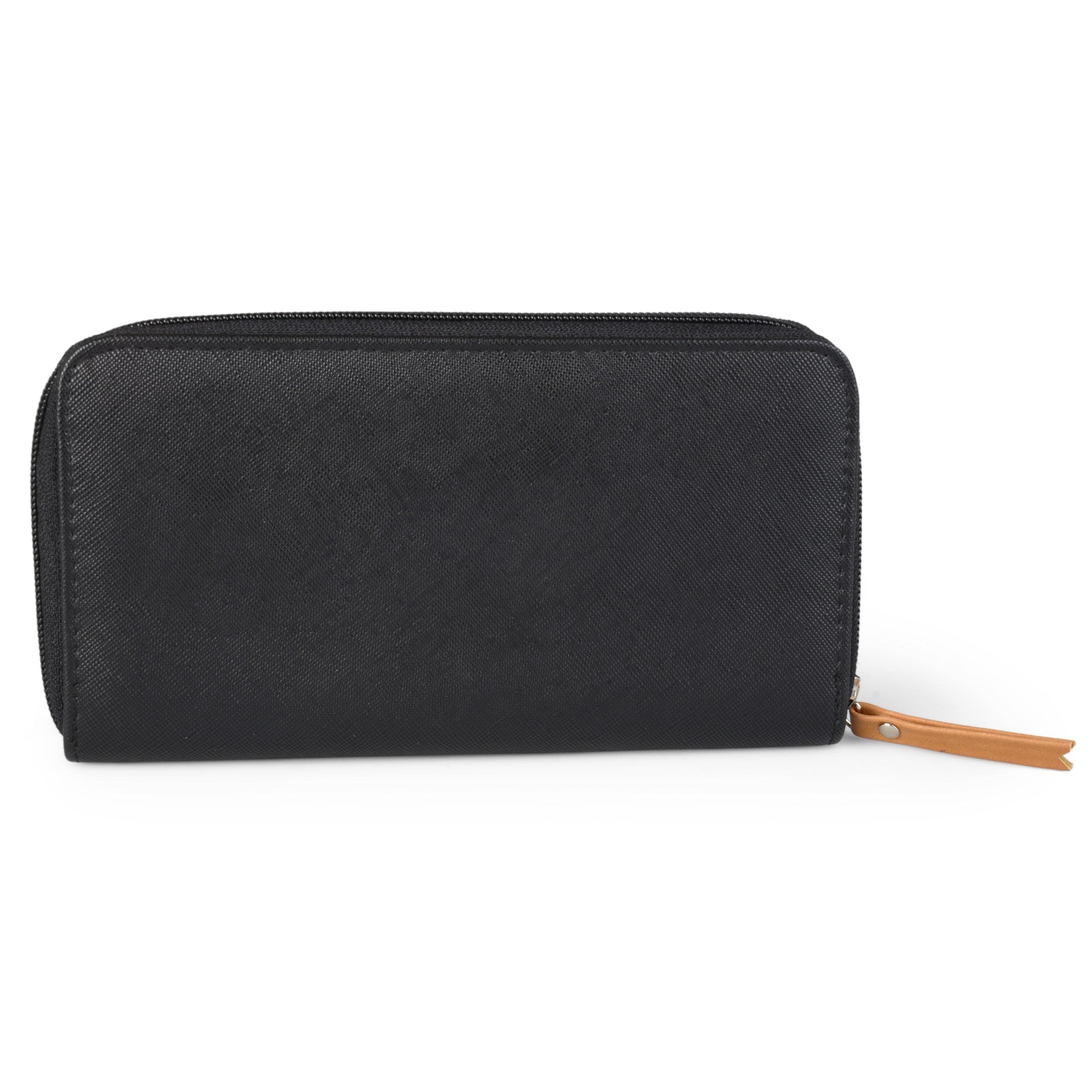 759cab2a5c27 Nautica Women's RFID Blocking Saffiano Leather Zip Around Clutch Wallet
